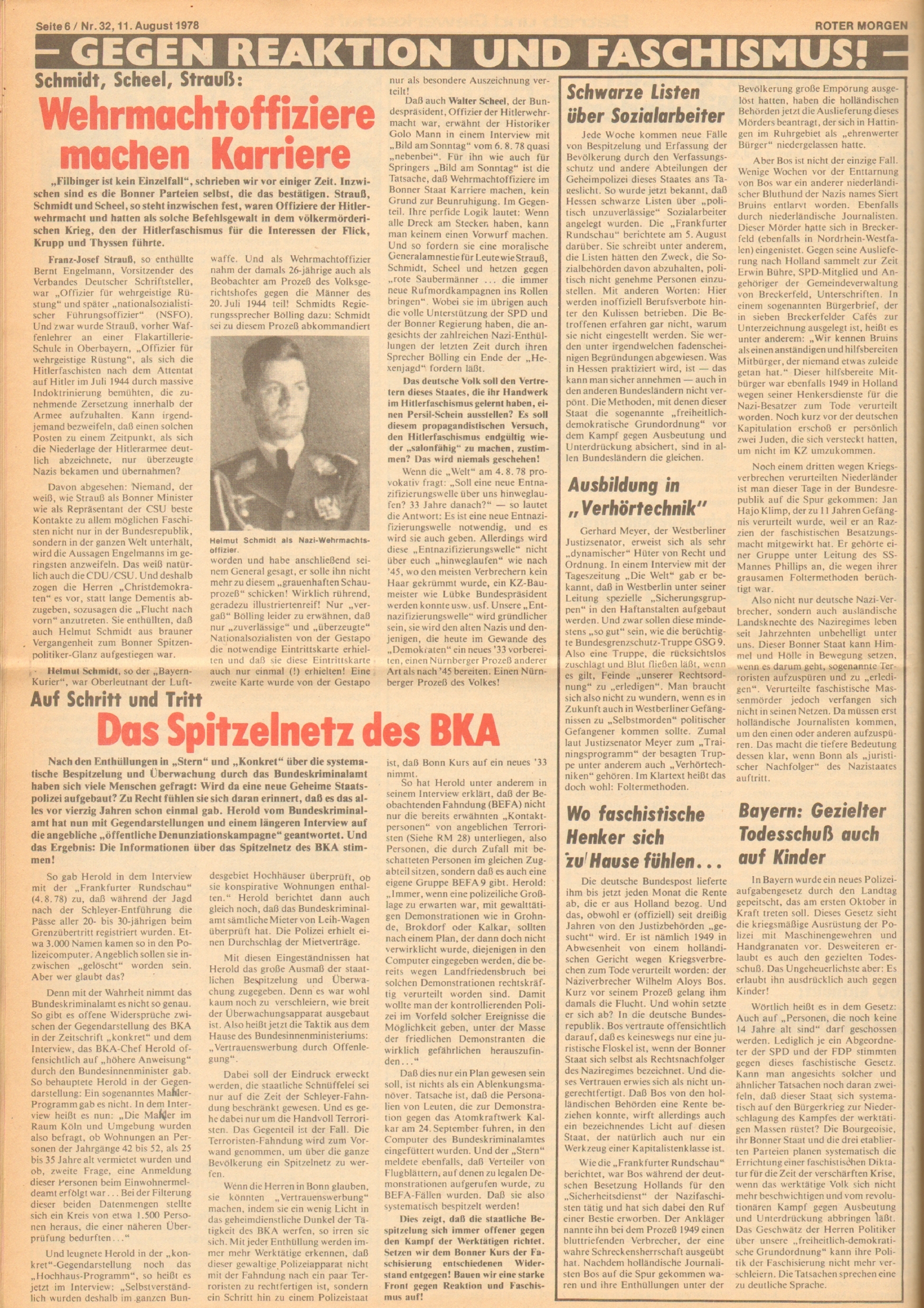 Roter Morgen, 12. Jg., 11. August 1978, Nr. 32, Seite 6