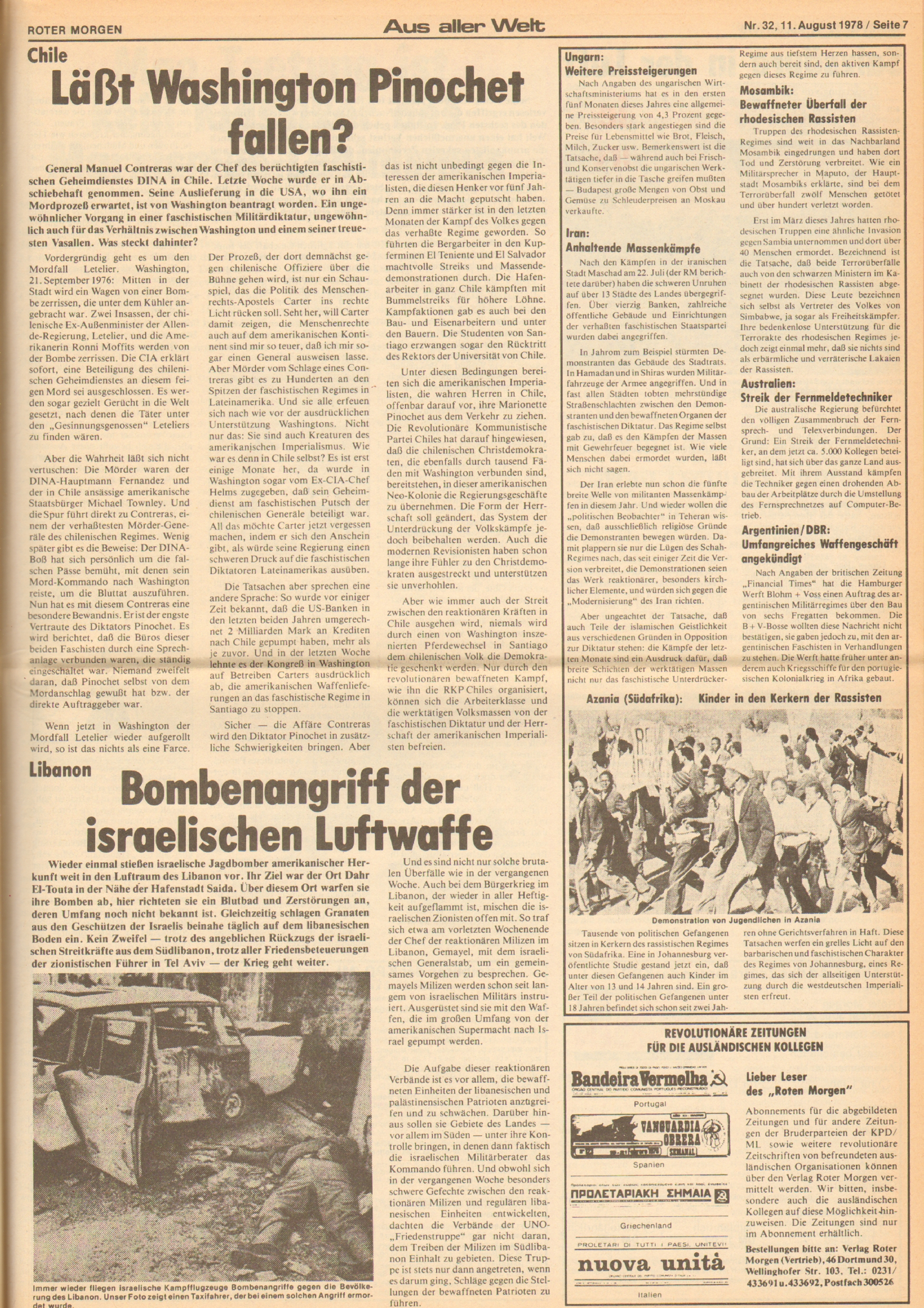 Roter Morgen, 12. Jg., 11. August 1978, Nr. 32, Seite 7