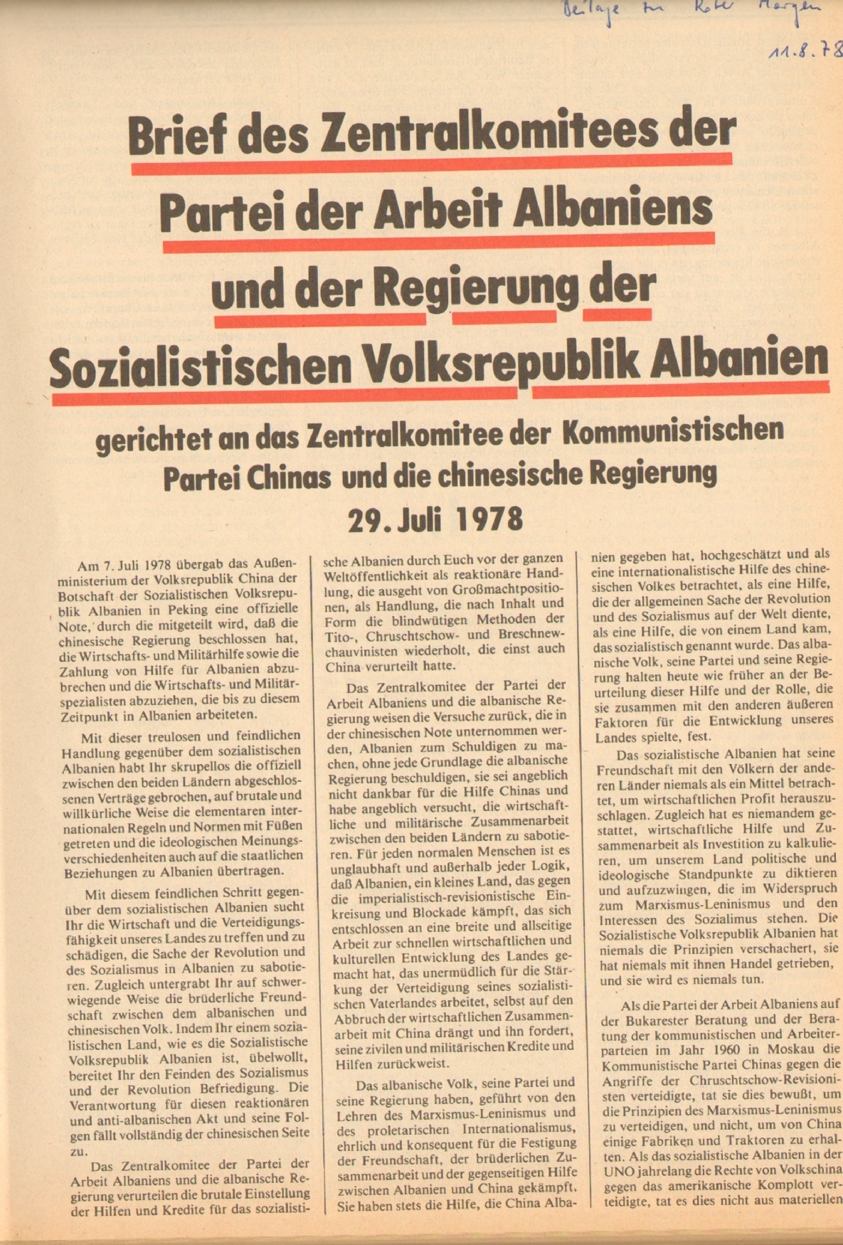Roter Morgen, 12. Jg., 11. August 1978, Nr. 32, Beilage, Seite 1