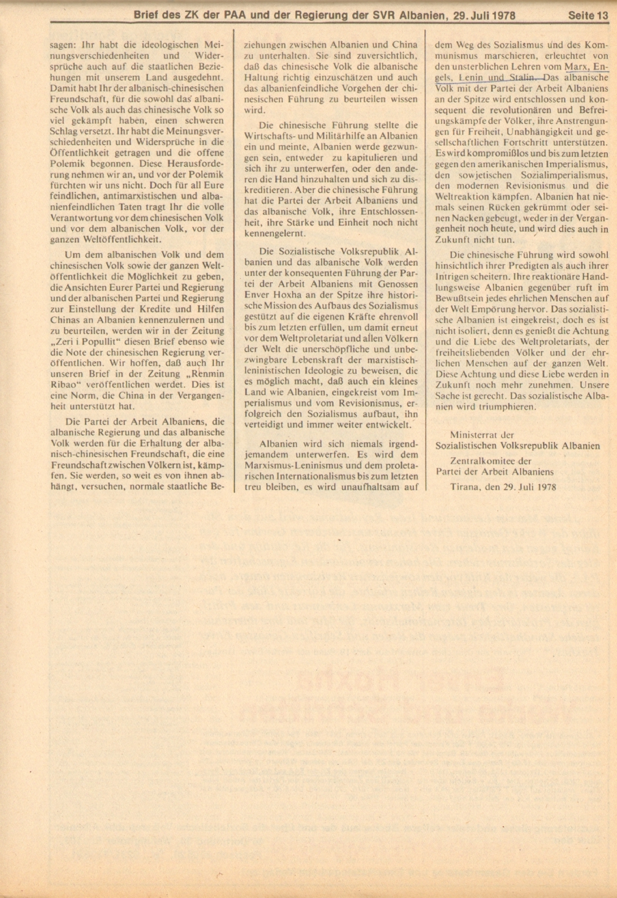 Roter Morgen, 12. Jg., 11. August 1978, Nr. 32, Beilage, Seite 13