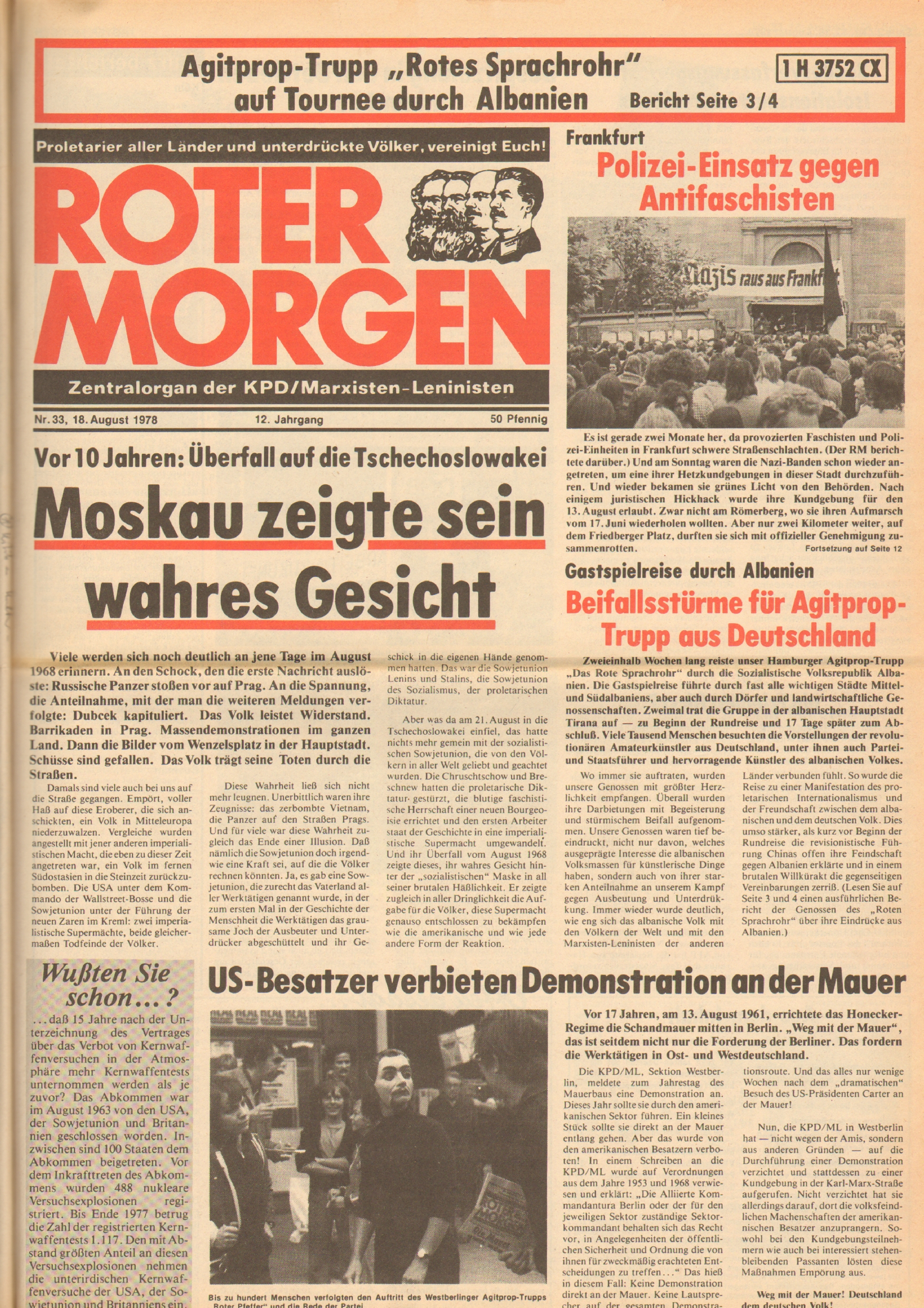 Roter Morgen, 12. Jg., 18. August 1978, Nr. 33, Seite 1