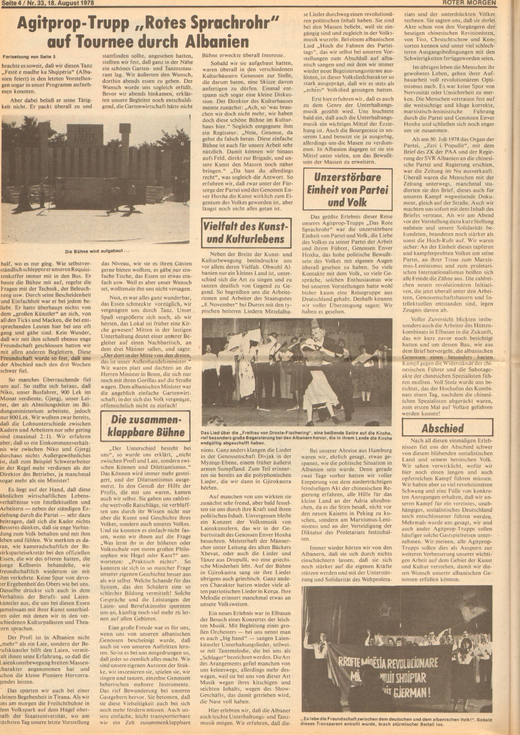 Roter Morgen, 12. Jg., 18. August 1978, Nr. 33, Seite 4