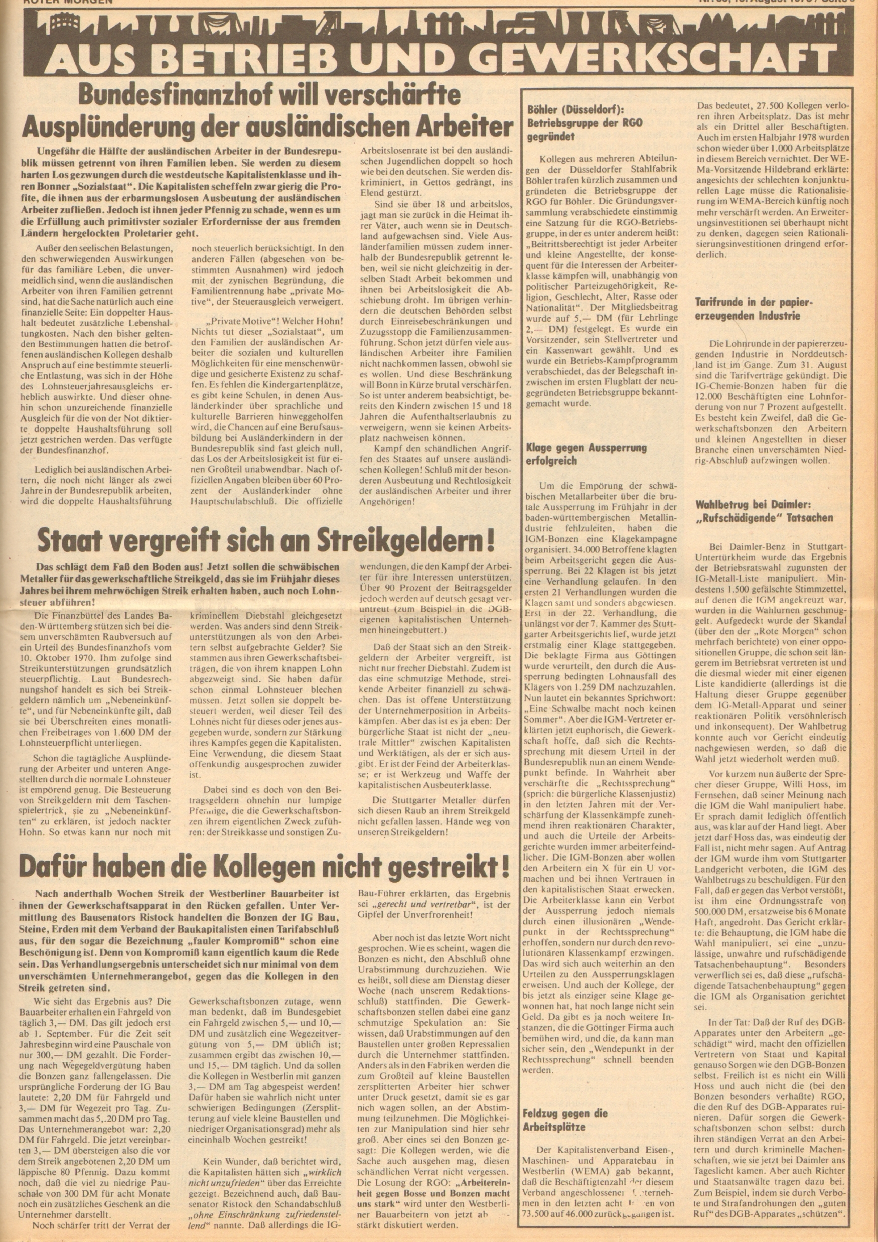 Roter Morgen, 12. Jg., 18. August 1978, Nr. 33, Seite 5