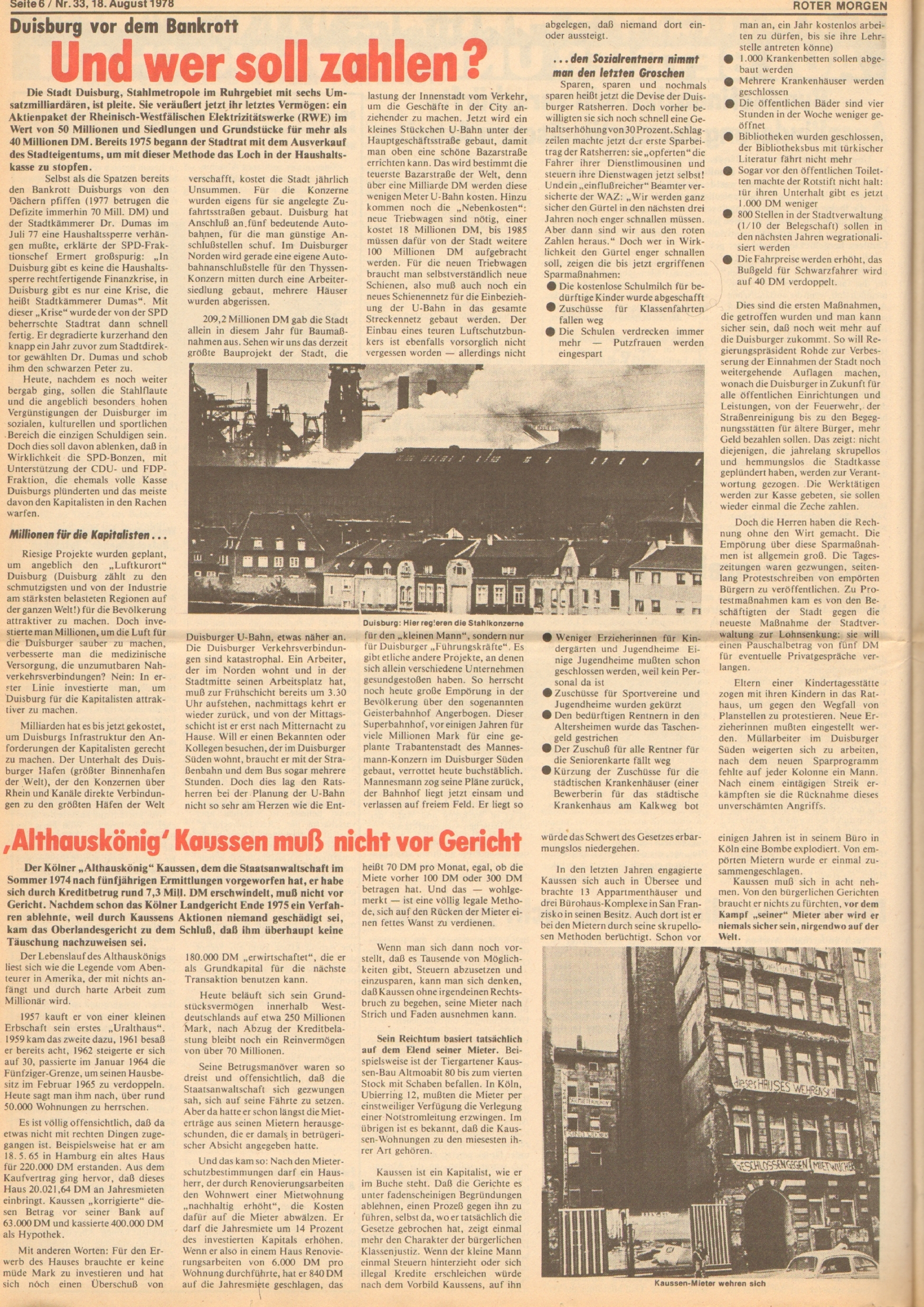 Roter Morgen, 12. Jg., 18. August 1978, Nr. 33, Seite 6