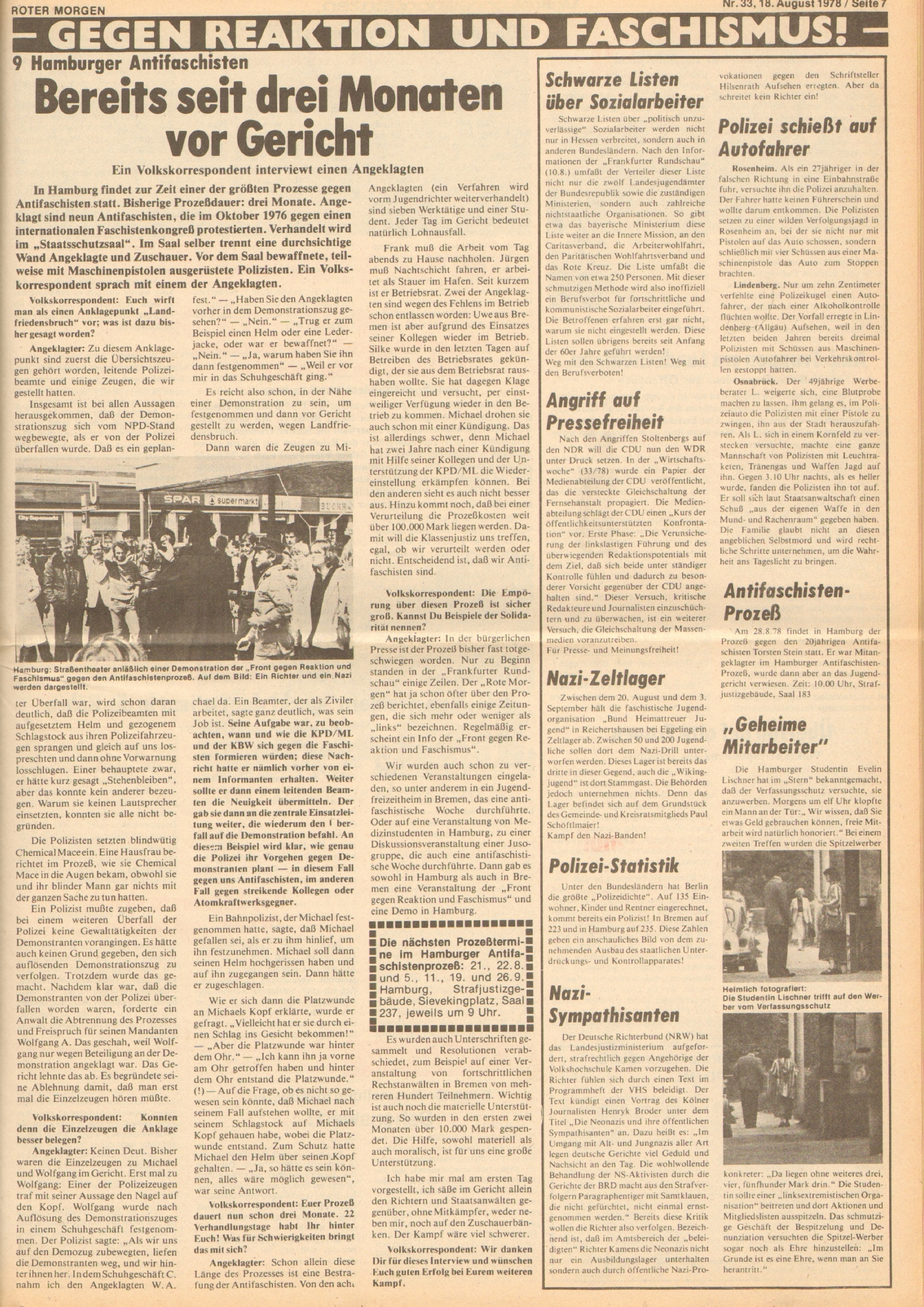 Roter Morgen, 12. Jg., 18. August 1978, Nr. 33, Seite 7