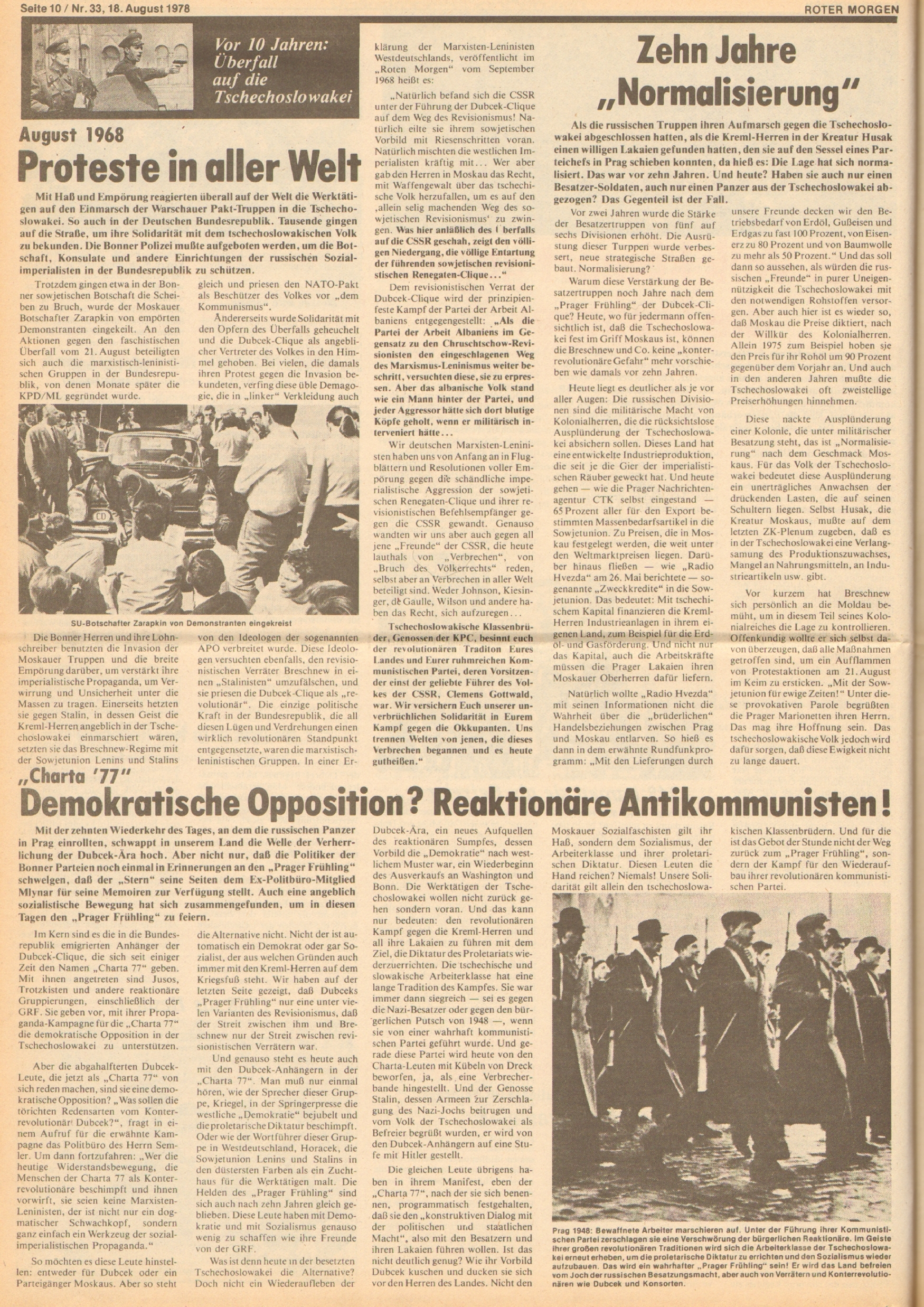 Roter Morgen, 12. Jg., 18. August 1978, Nr. 33, Seite 10