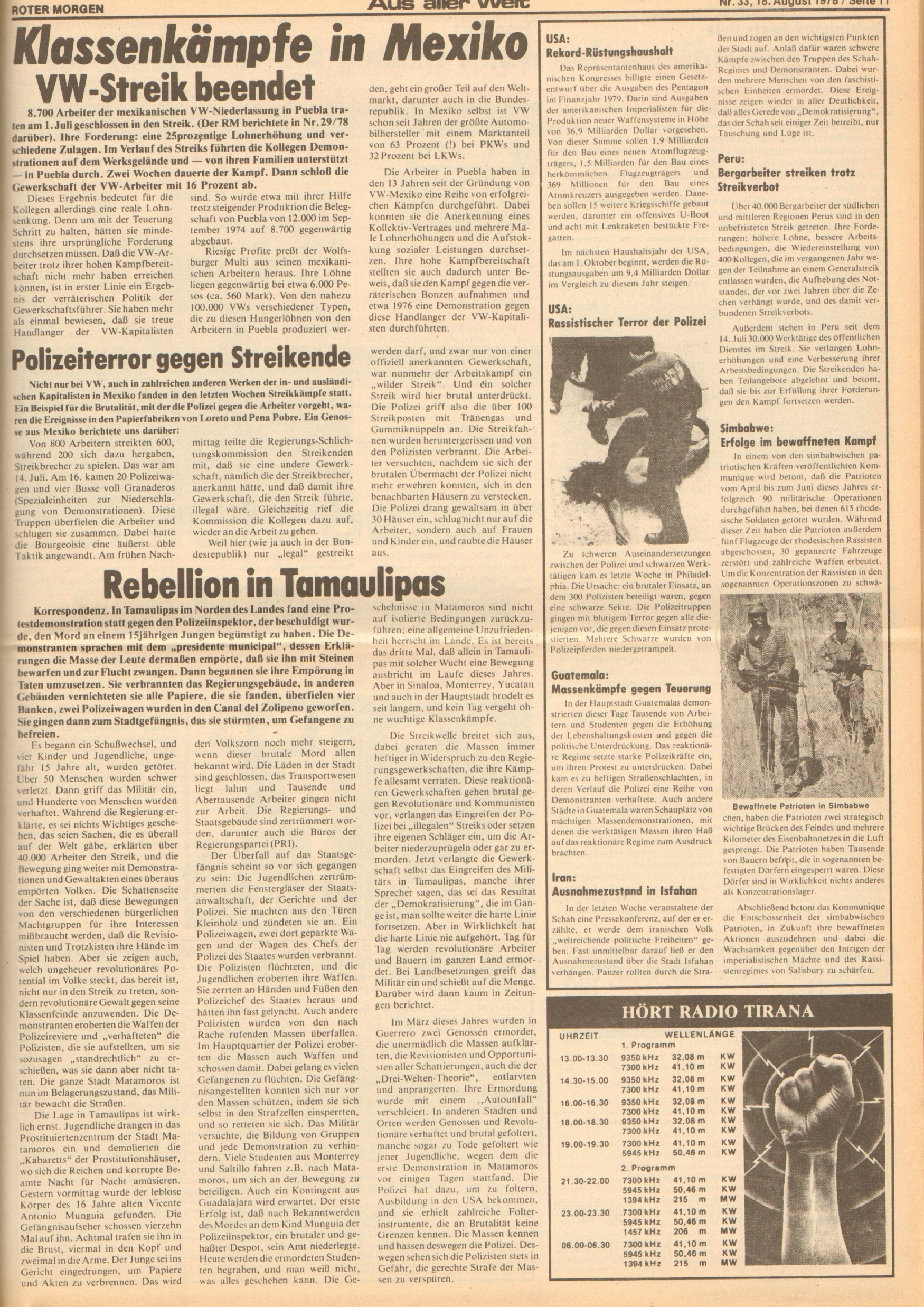 Roter Morgen, 12. Jg., 18. August 1978, Nr. 33, Seite 11