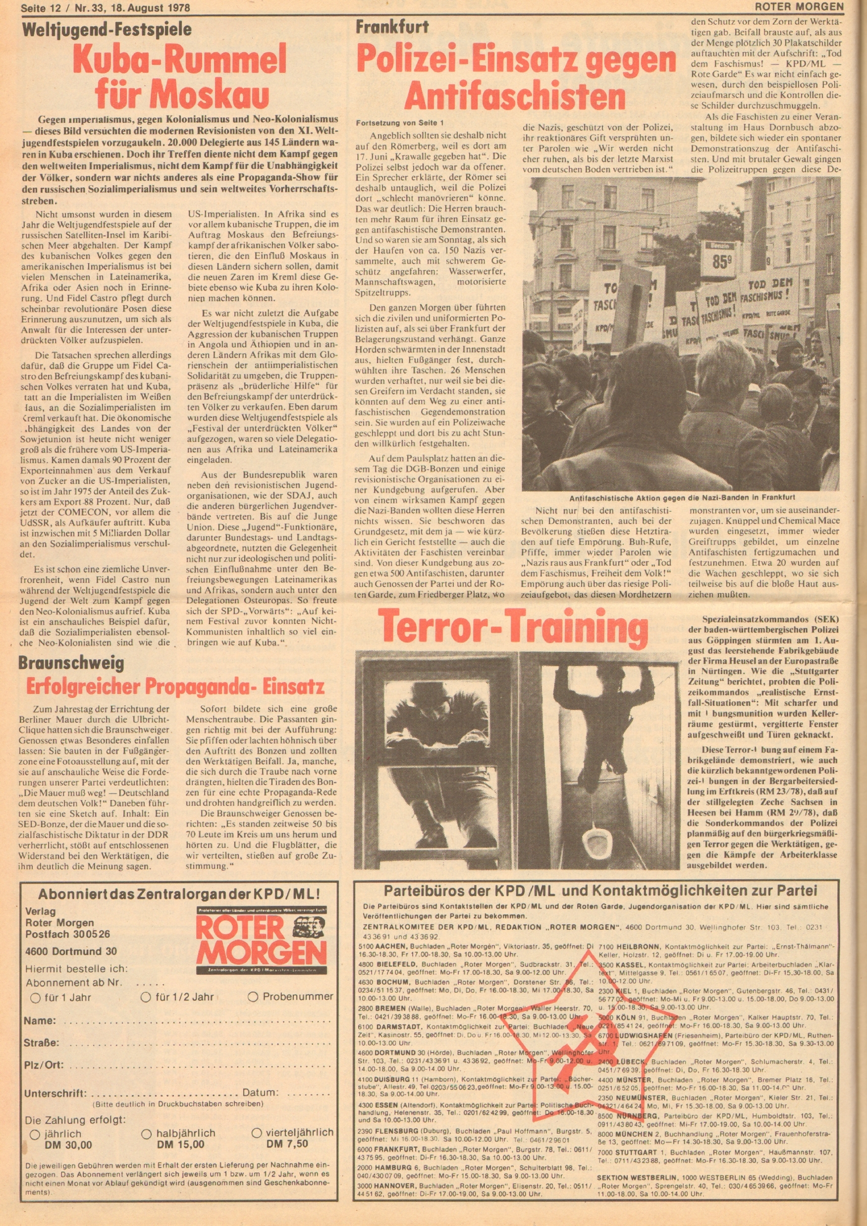 Roter Morgen, 12. Jg., 18. August 1978, Nr. 33, Seite 12