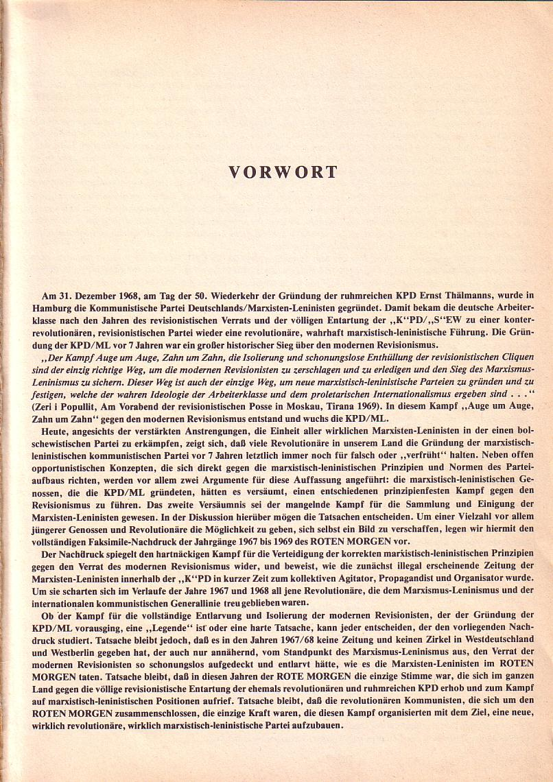 Roter Morgen 1967_1969, Vorwort, Seite 1