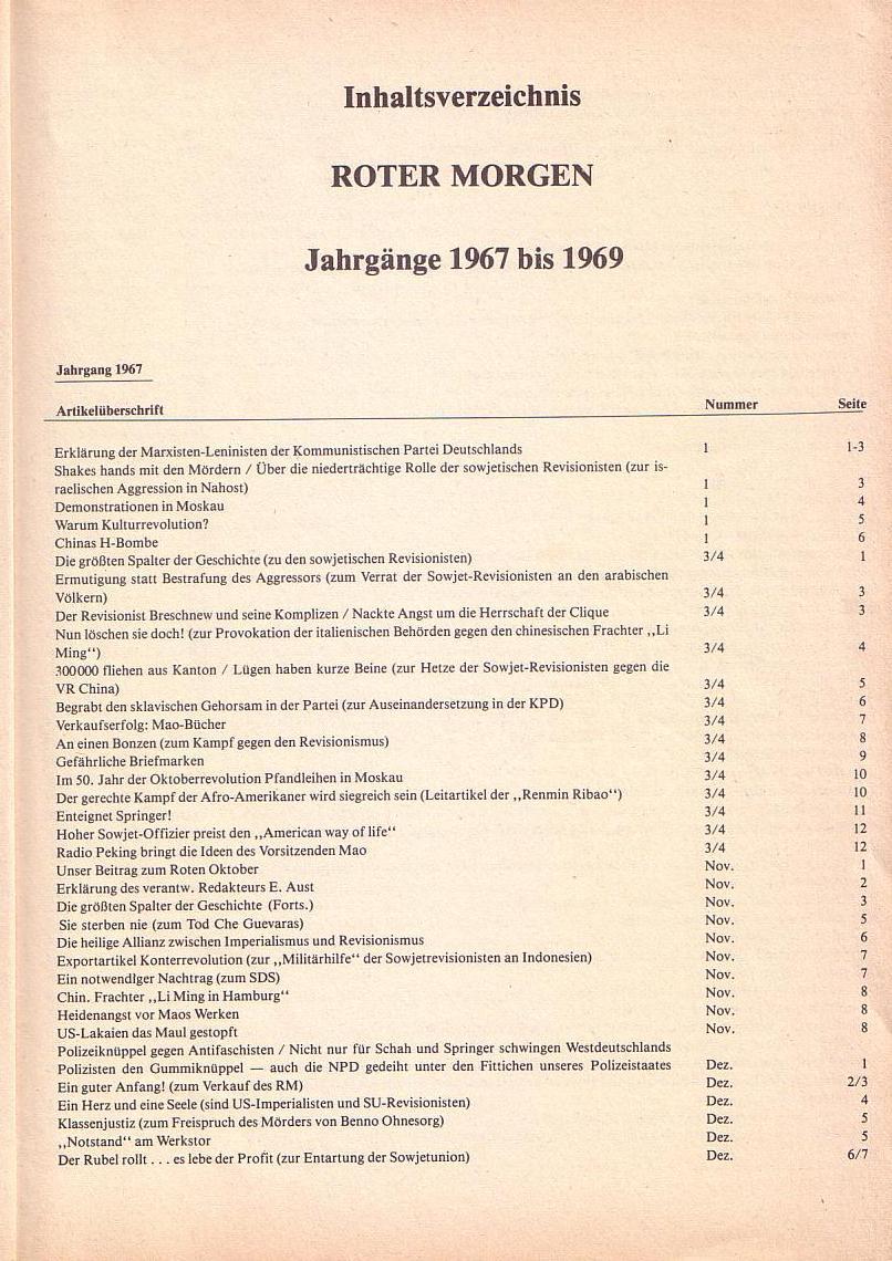 Roter Morgen 1967_1969, Inhaltsverzeichnis, Seite 1