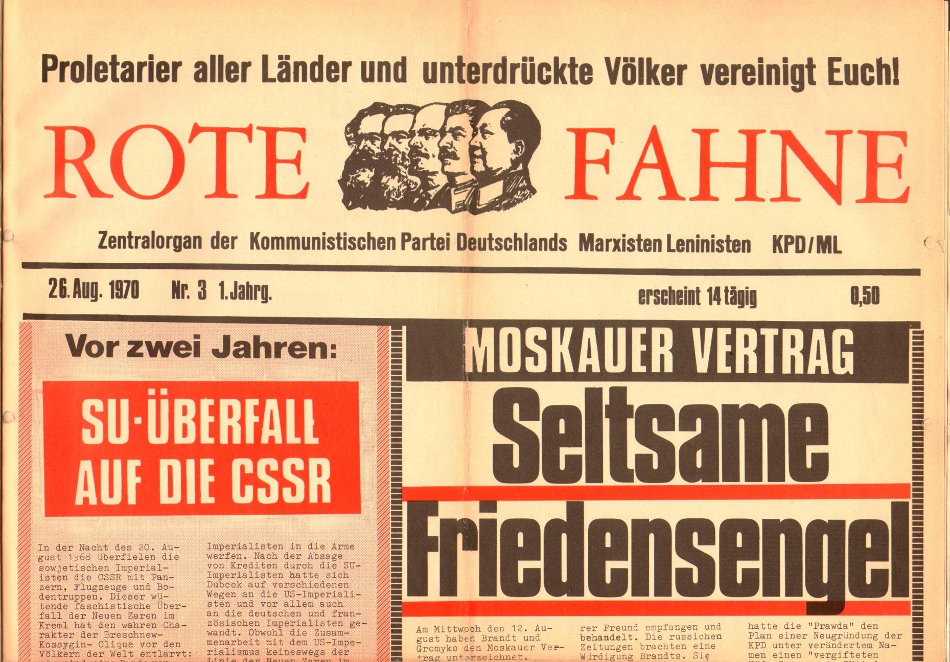 Rote Fahne, 1. Jg., 26. August 1970, Seite 1 oben
