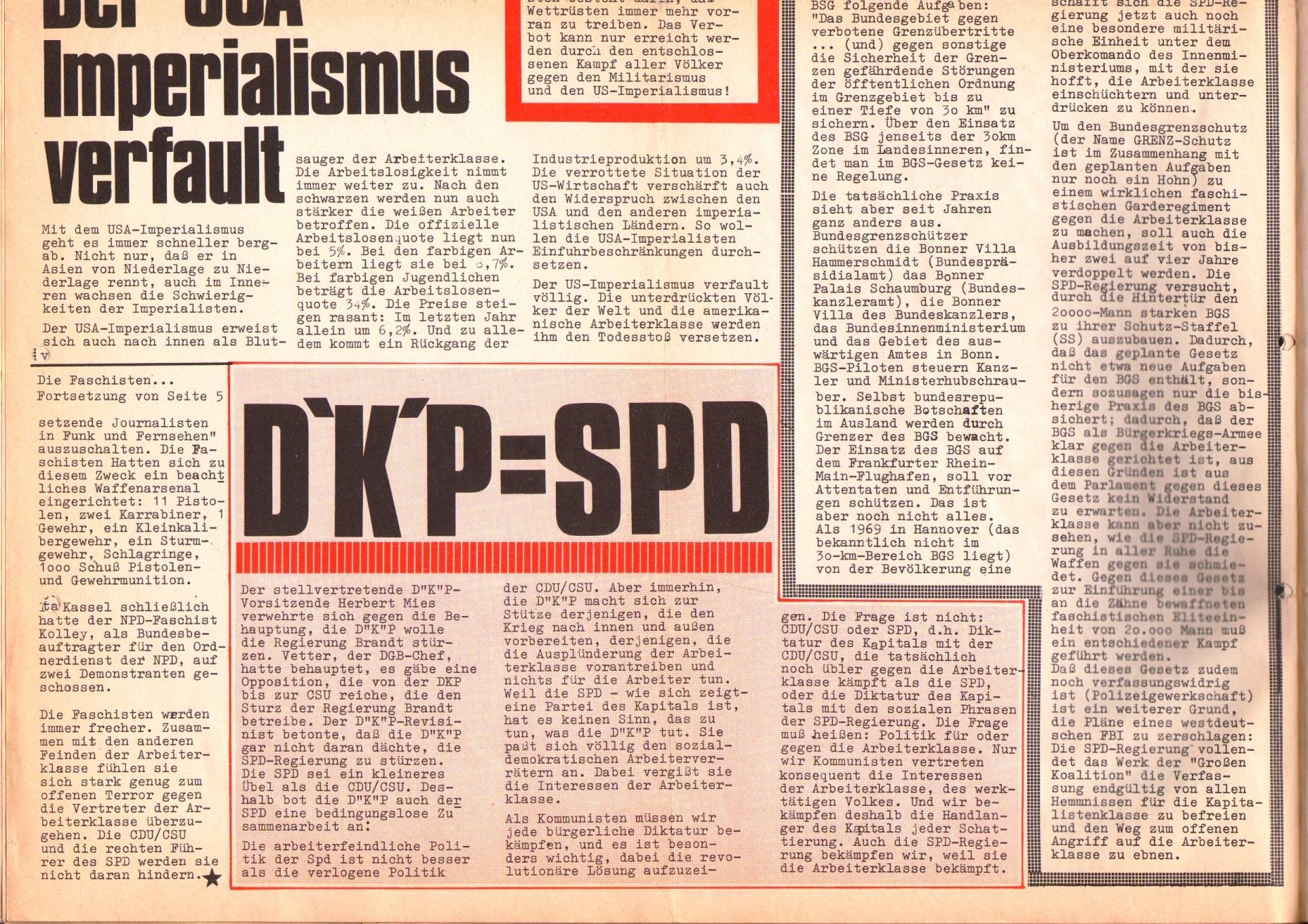 Rote Fahne, 1. Jg., 26. August 1970, Seite 2 unten