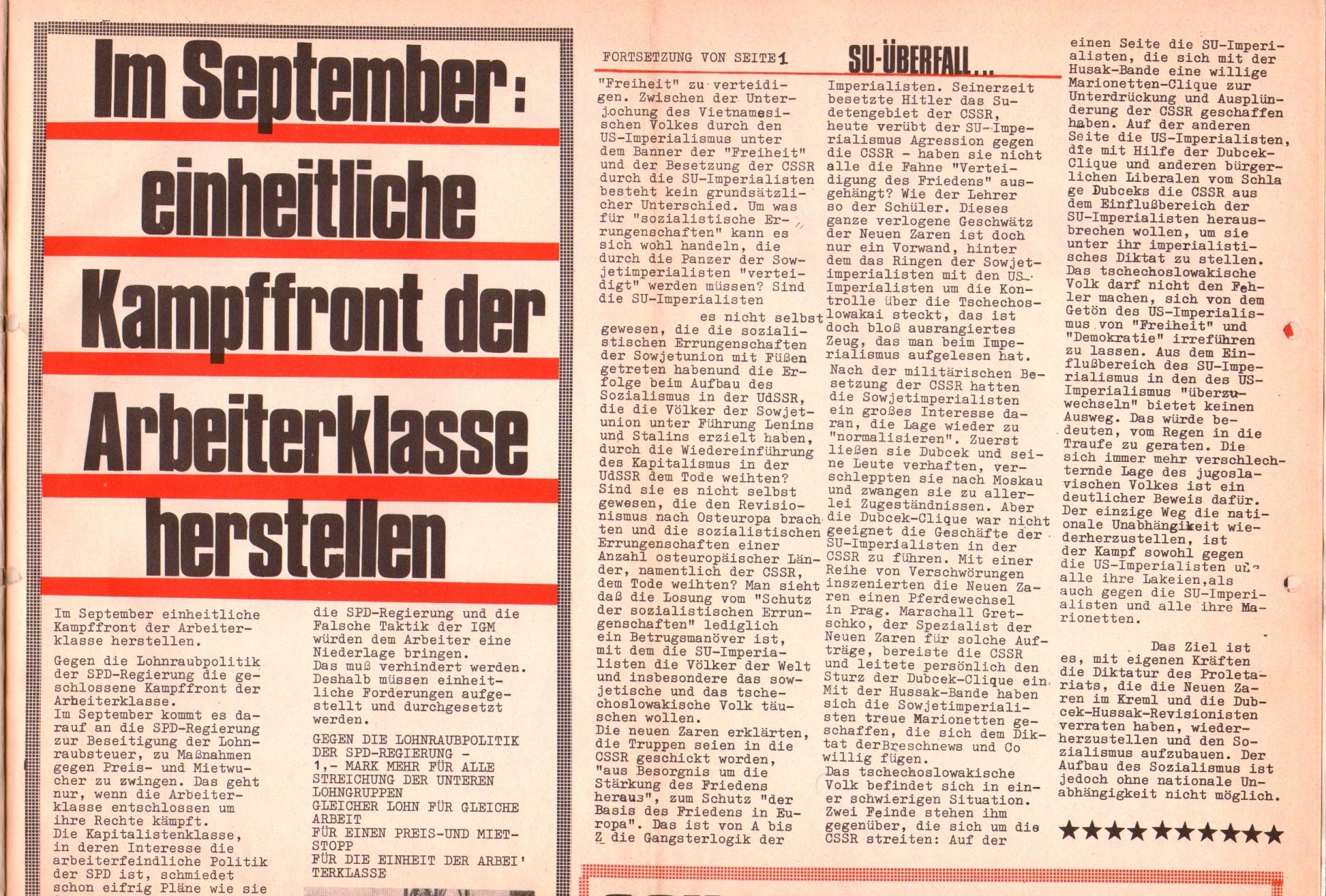 Rote Fahne, 1. Jg., 26. August 1970, Seite 3 oben
