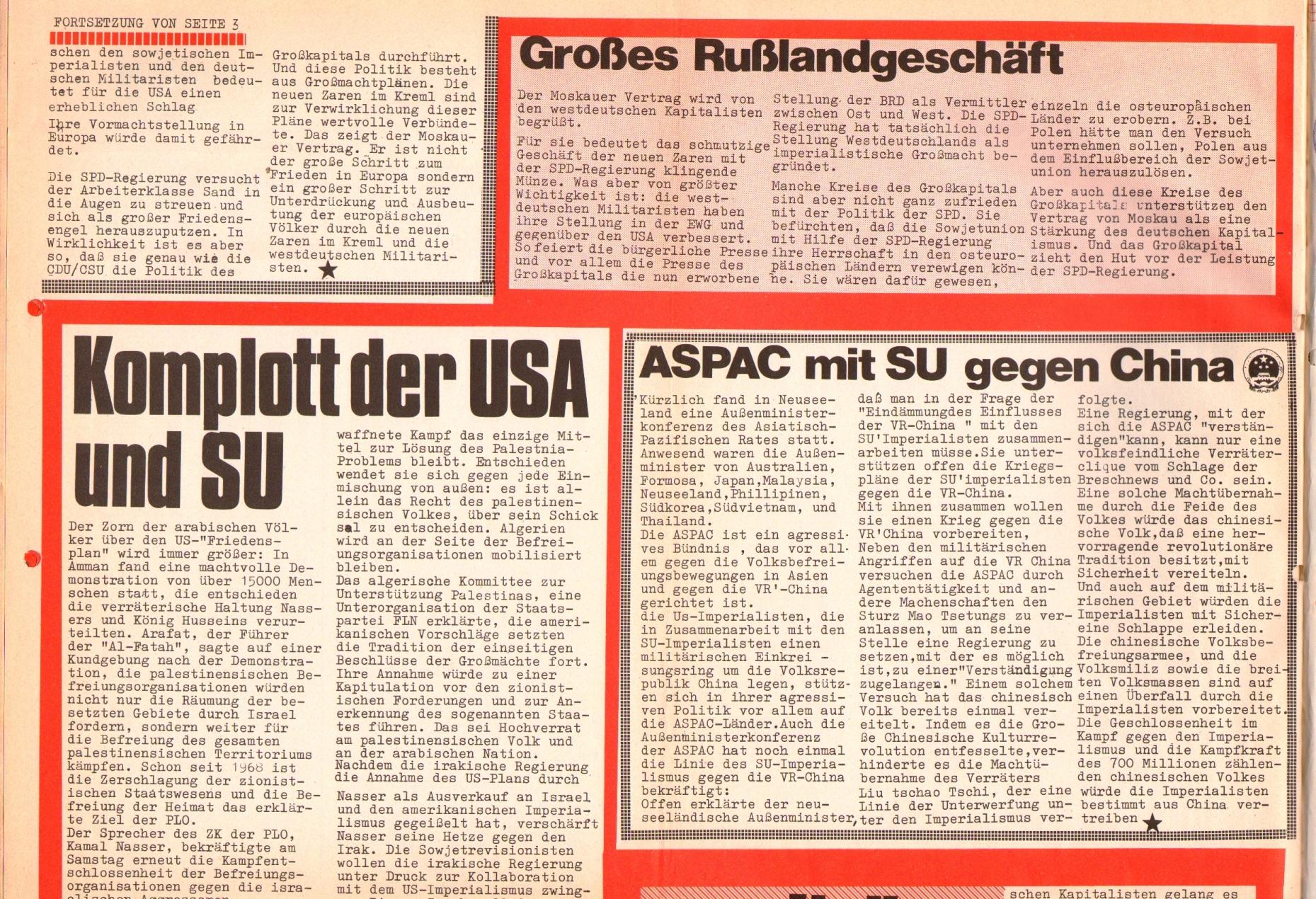 Rote Fahne, 1. Jg., 26. August 1970, Seite 6 oben