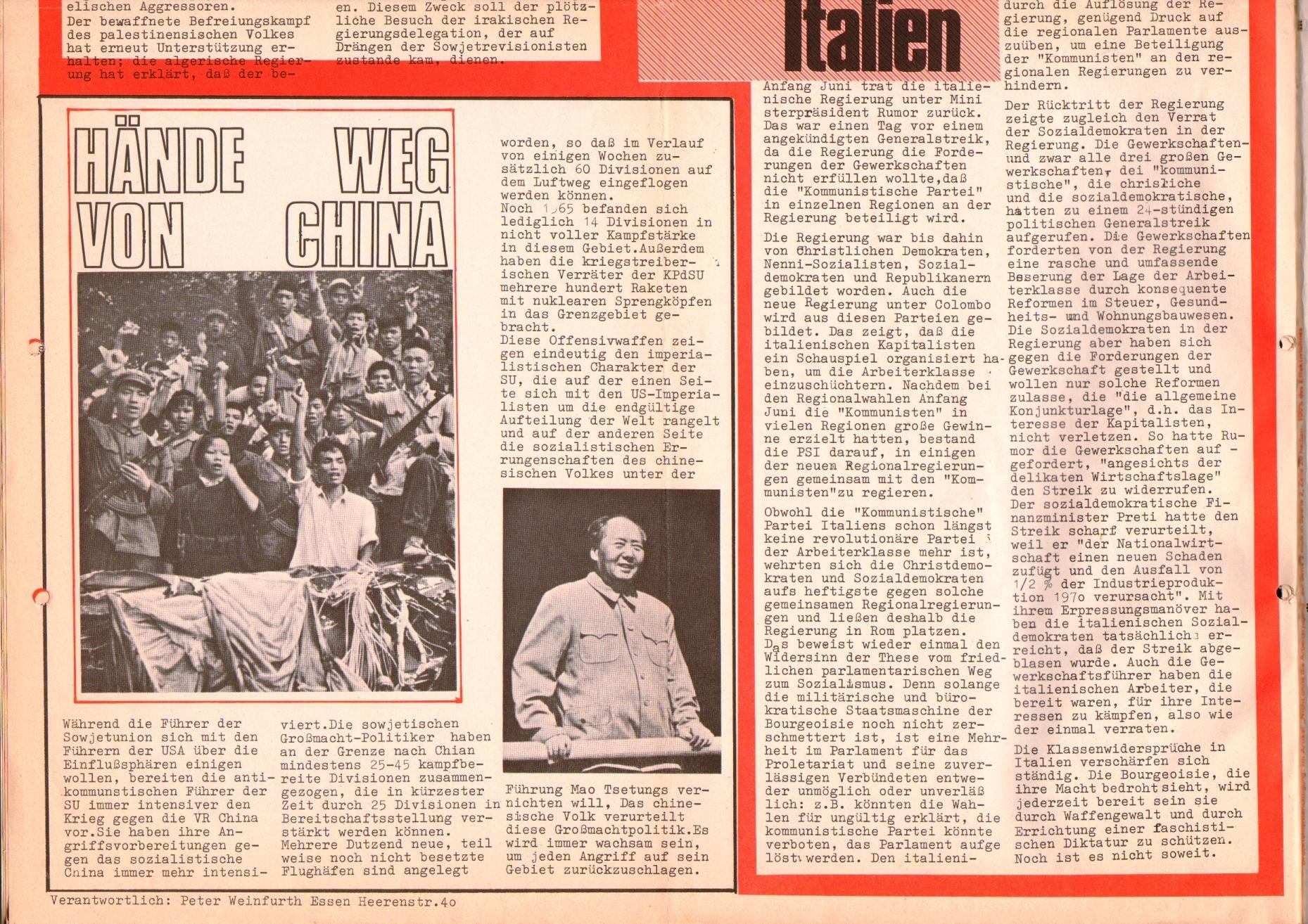 Rote Fahne, 1. Jg., 26. August 1970, Seite 6 unten