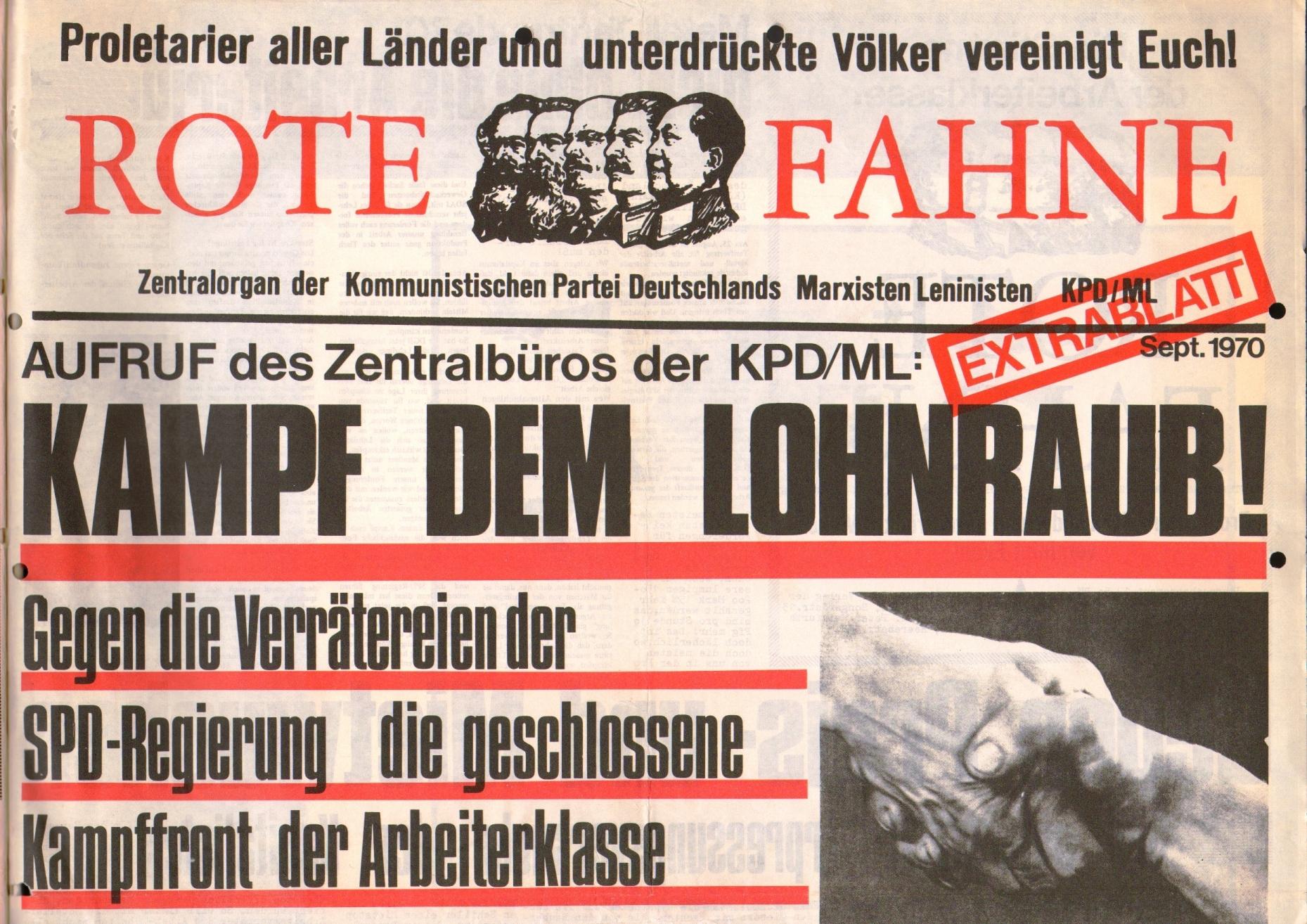 Rote Fahne, 1. Jg., September 1970, Extrablatt, Seite 1 oben