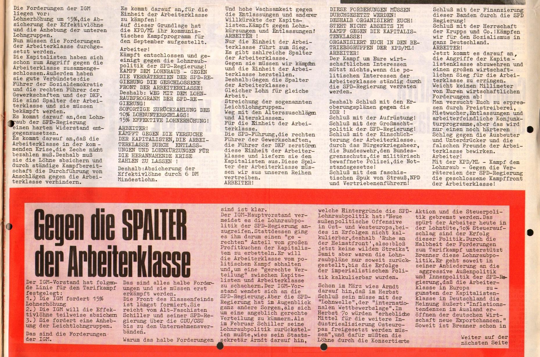 Rote Fahne, 1. Jg., September 1970, Extrablatt, Seite 1 unten