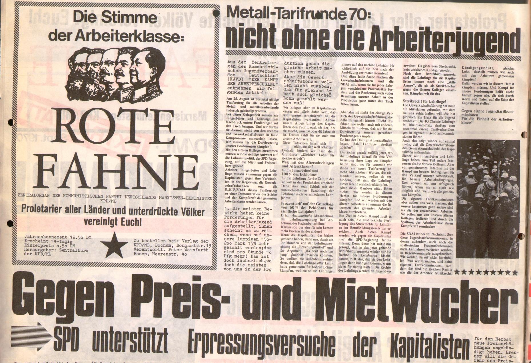 Rote Fahne, 1. Jg., September 1970, Extrablatt, Seite 2 oben