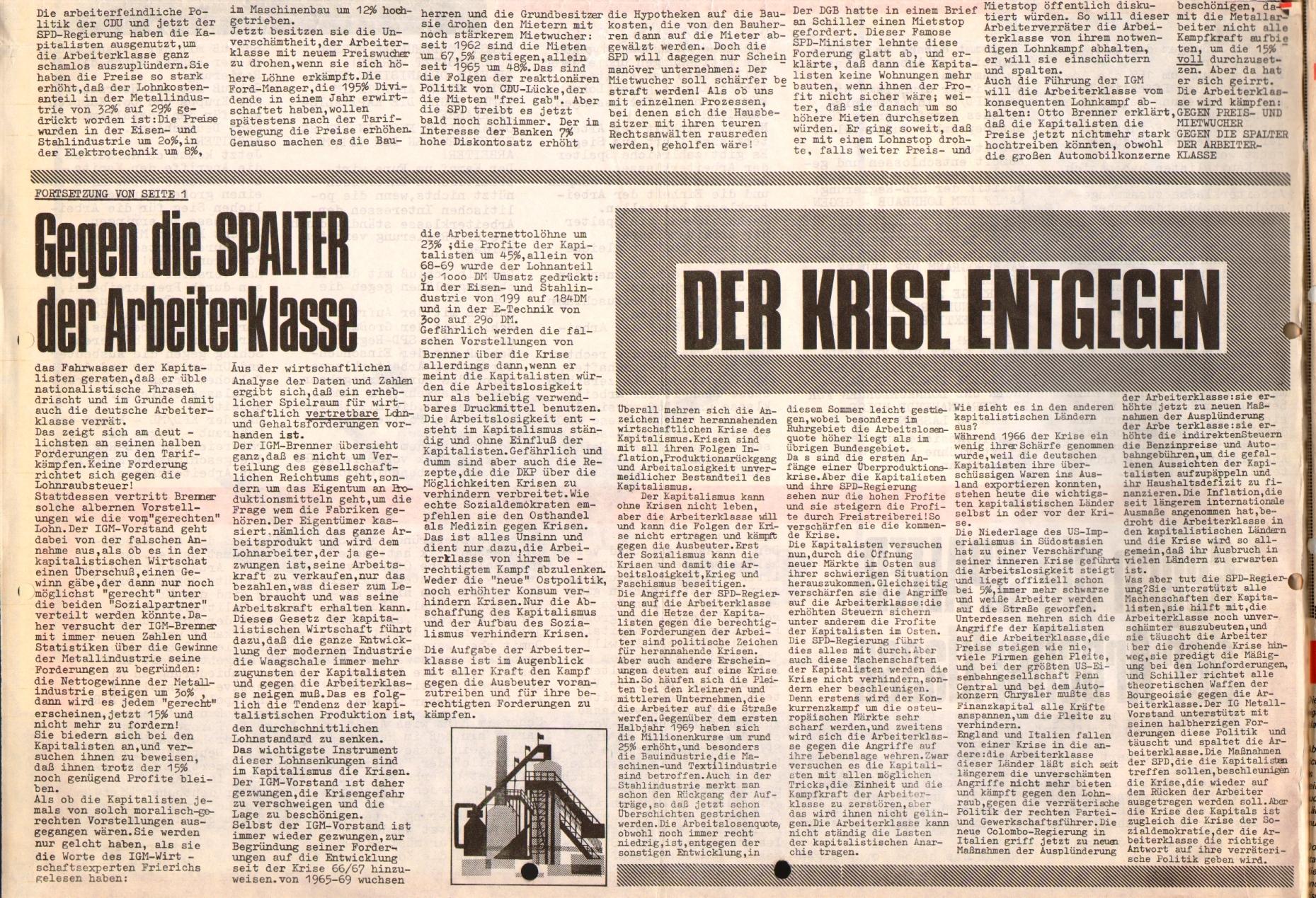 Rote Fahne, 1. Jg., September 1970, Extrablatt, Seite 2 unten