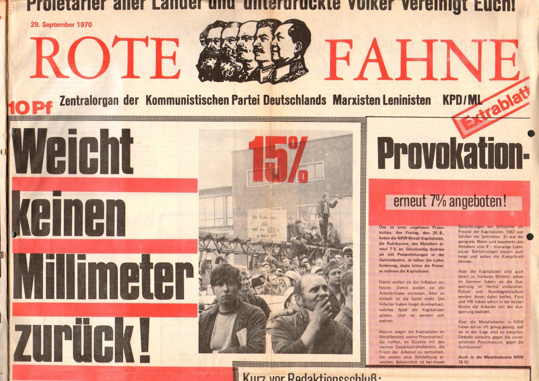 Rote Fahne, 1. Jg., 29. September 1970, Extrablatt, Seite 1 oben