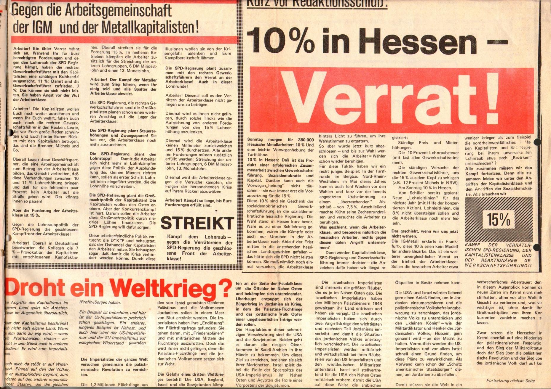 Rote Fahne, 1. Jg., 29. September 1970, Extrablatt, Seite 1 unten