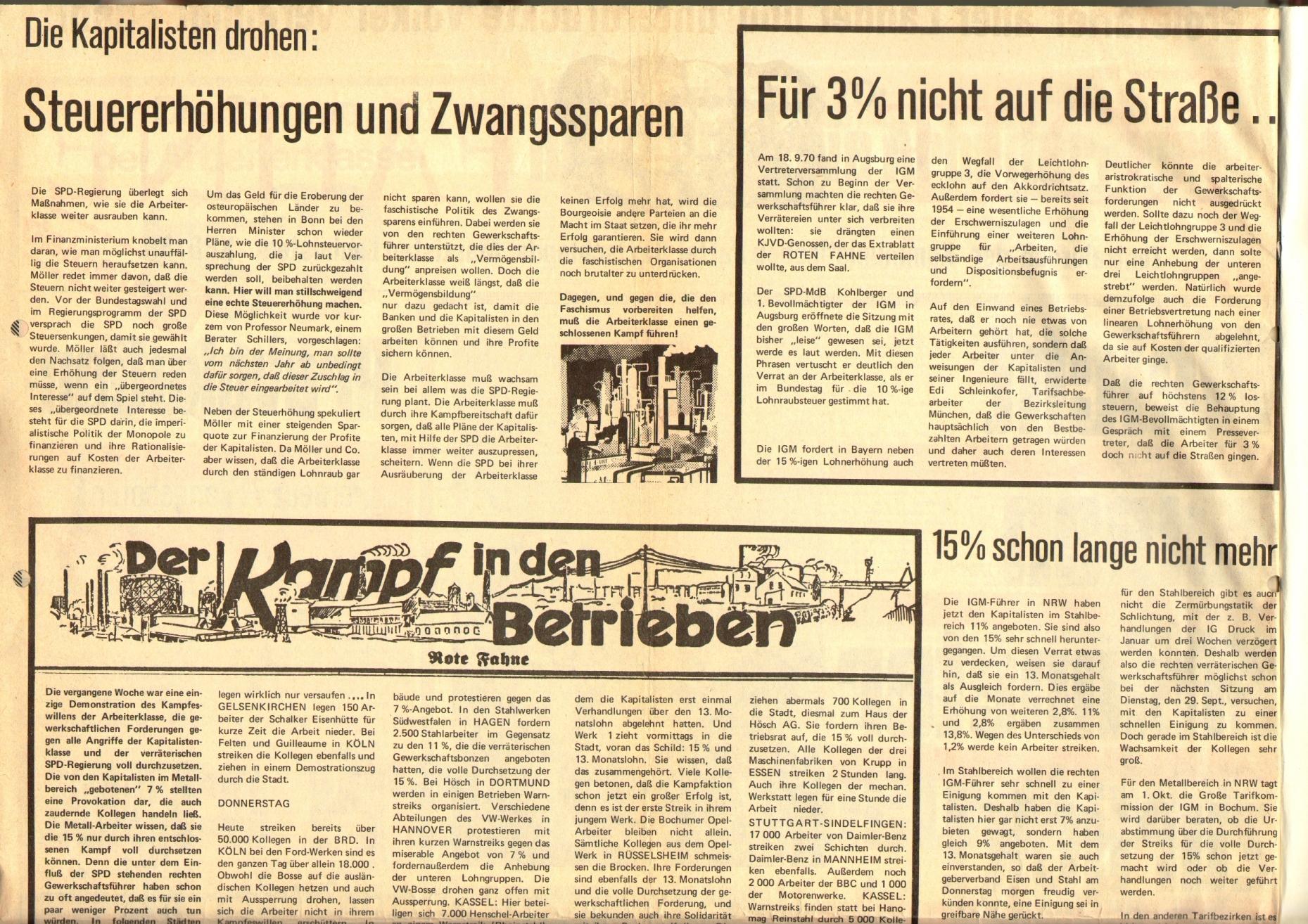 Rote Fahne, 1. Jg., 29. September 1970, Extrablatt, Seite 2 oben