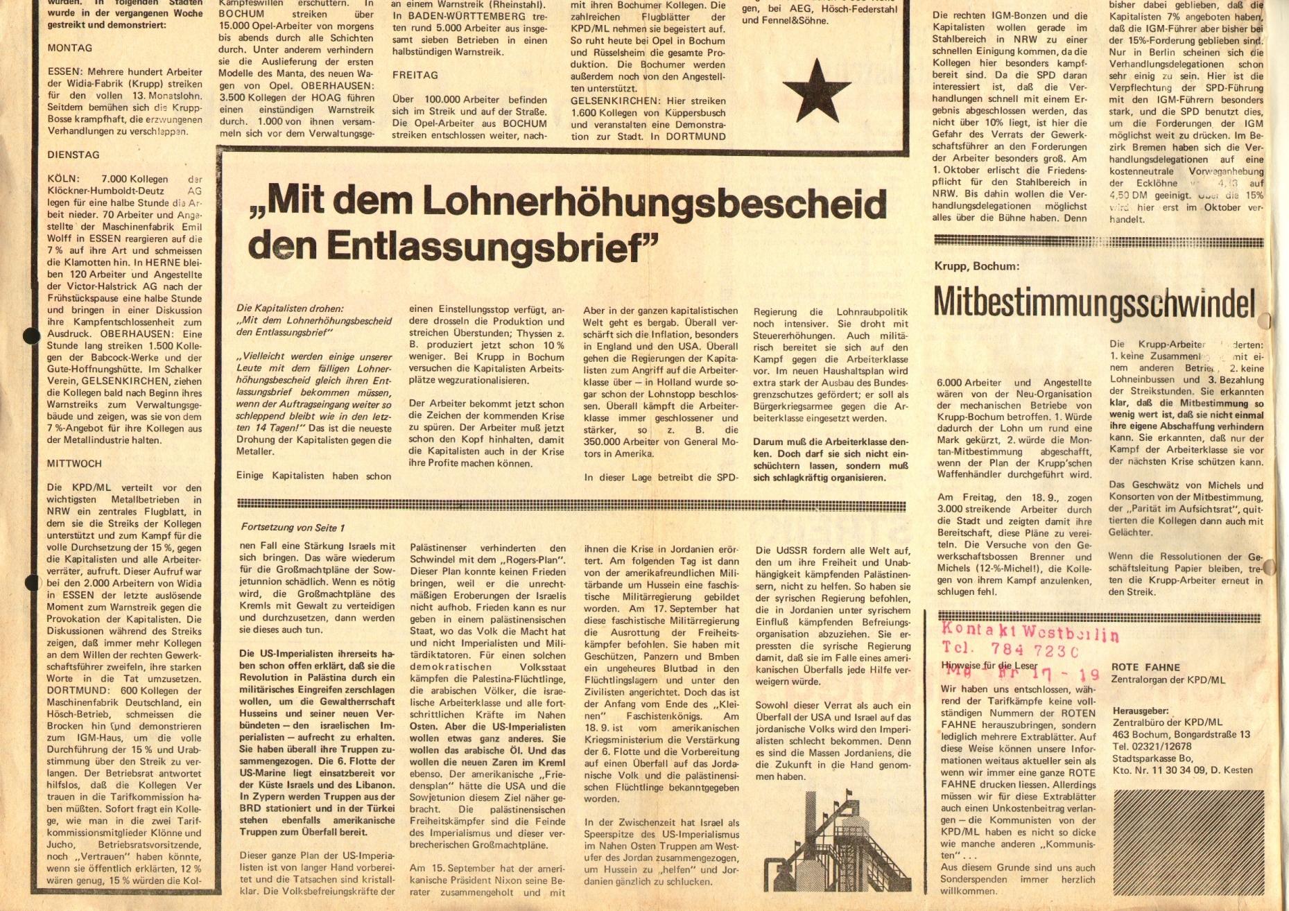 Rote Fahne, 1. Jg., 29. September 1970, Extrablatt, Seite 2 unten