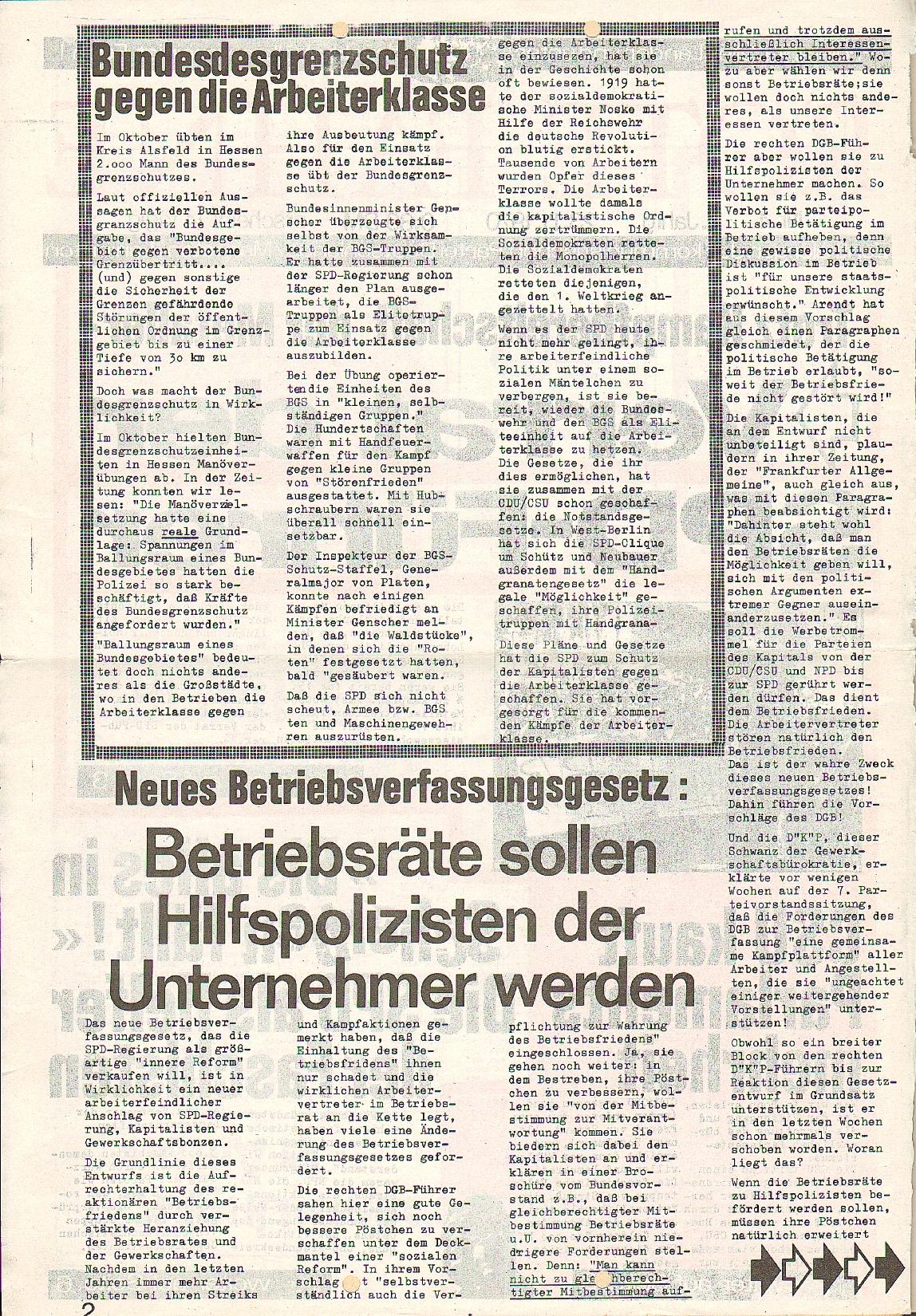 Rote Fahne, 1. Jg., 23.11.1970, Nr. 4, Seite 2