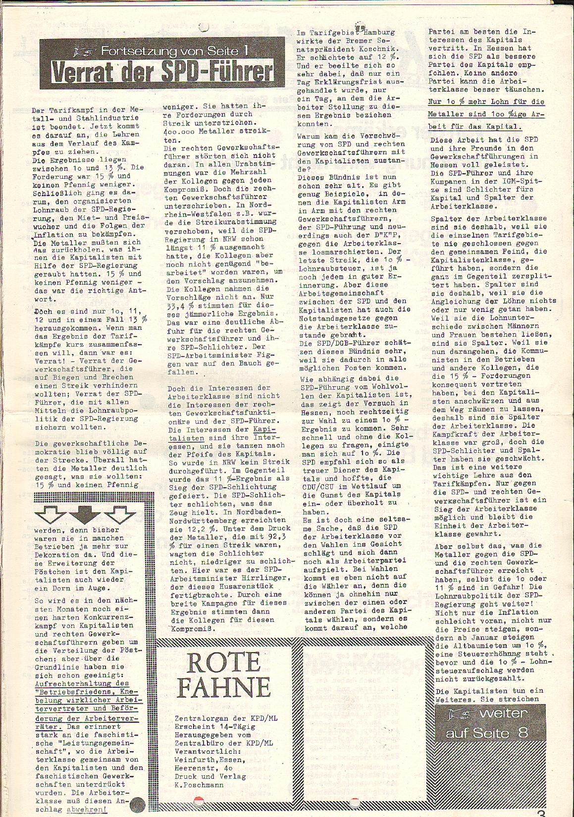 Rote Fahne, 1. Jg., 23.11.1970, Nr. 4, Seite 3