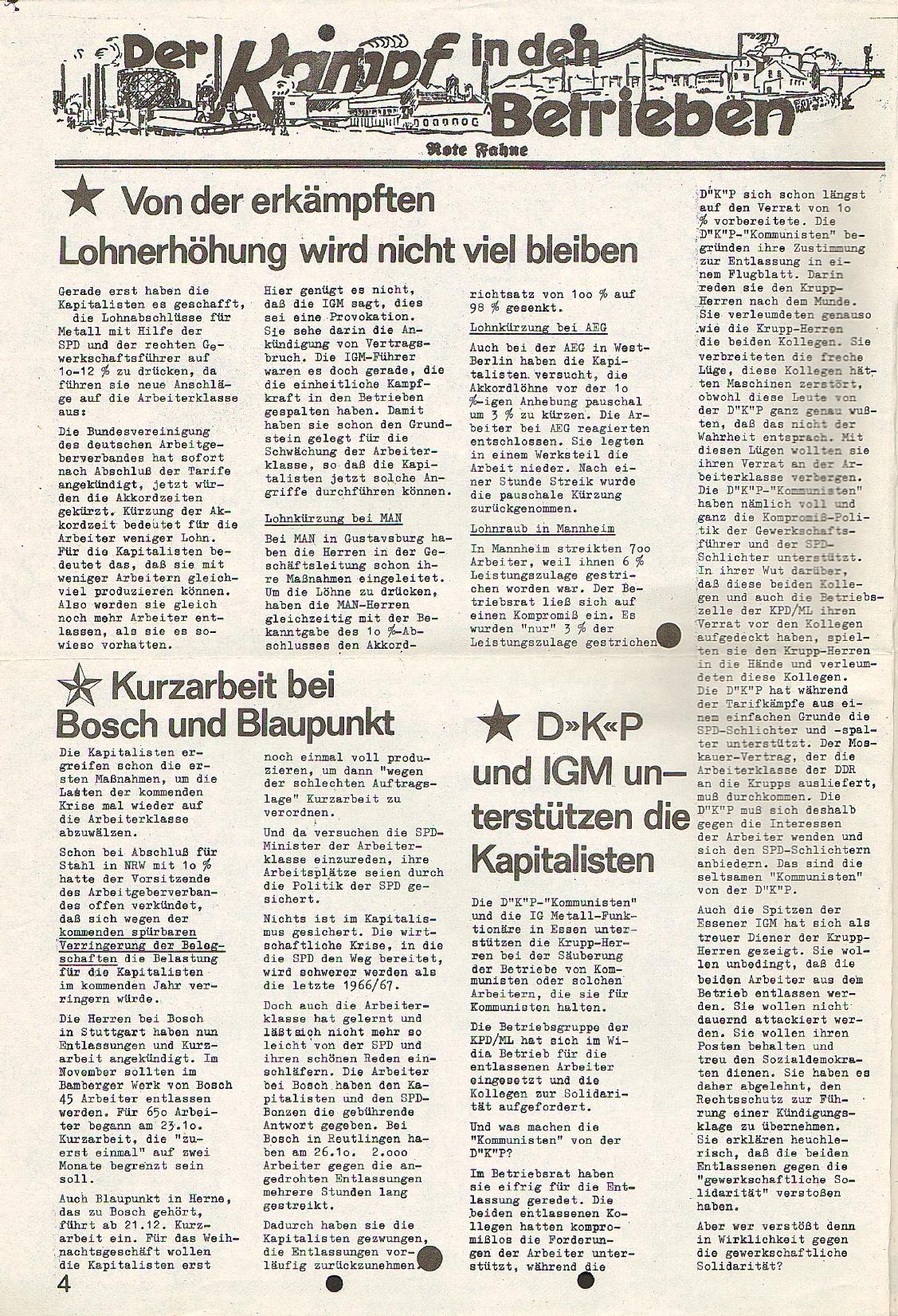 Rote Fahne, 1. Jg., 23.11.1970, Nr. 4, Seite 4