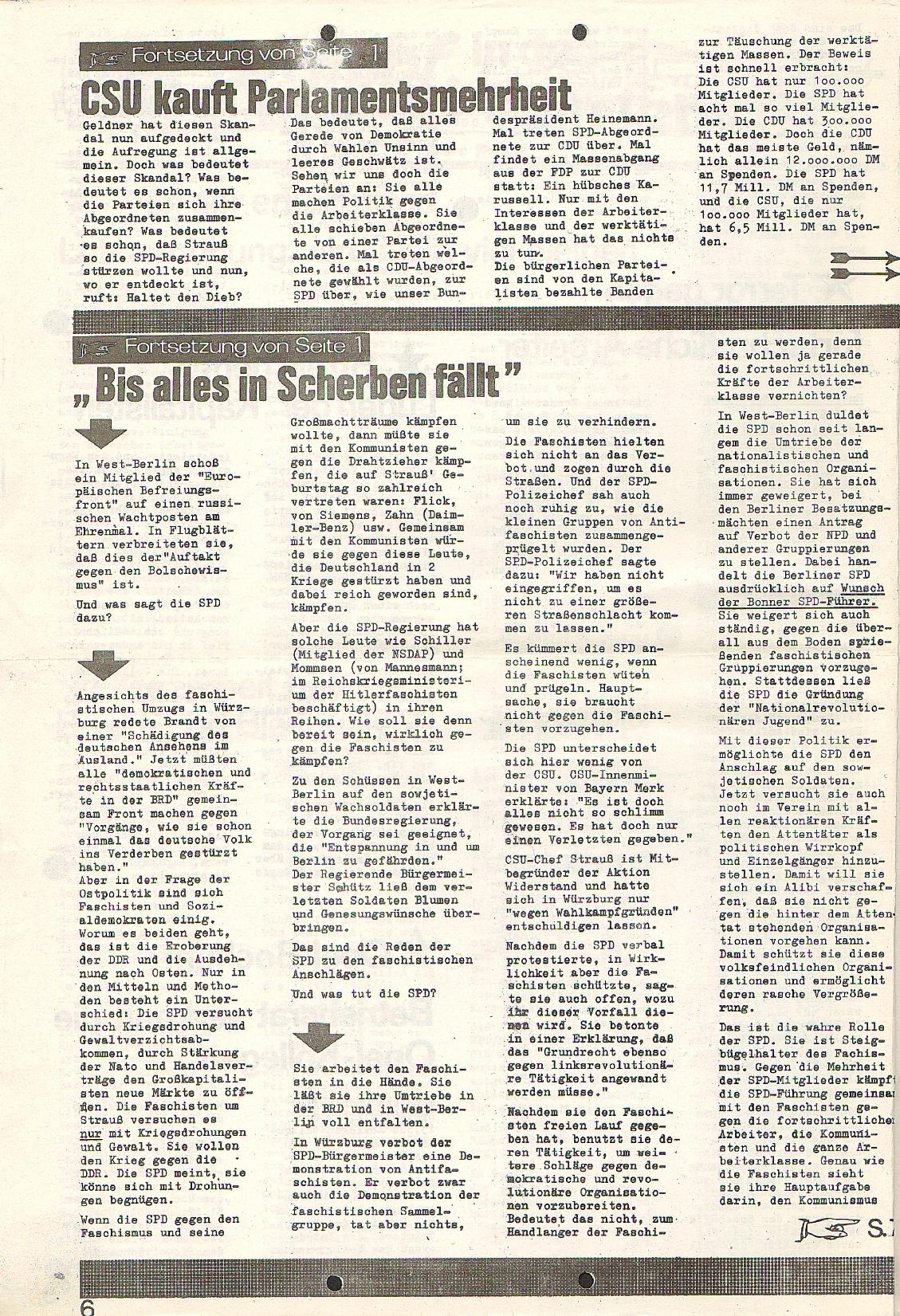 Rote Fahne, 1. Jg., 23.11.1970, Nr. 4, Seite 6