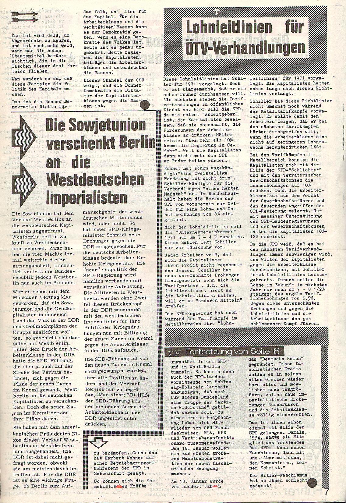 Rote Fahne, 1. Jg., 23.11.1970, Nr. 4, Seite 7