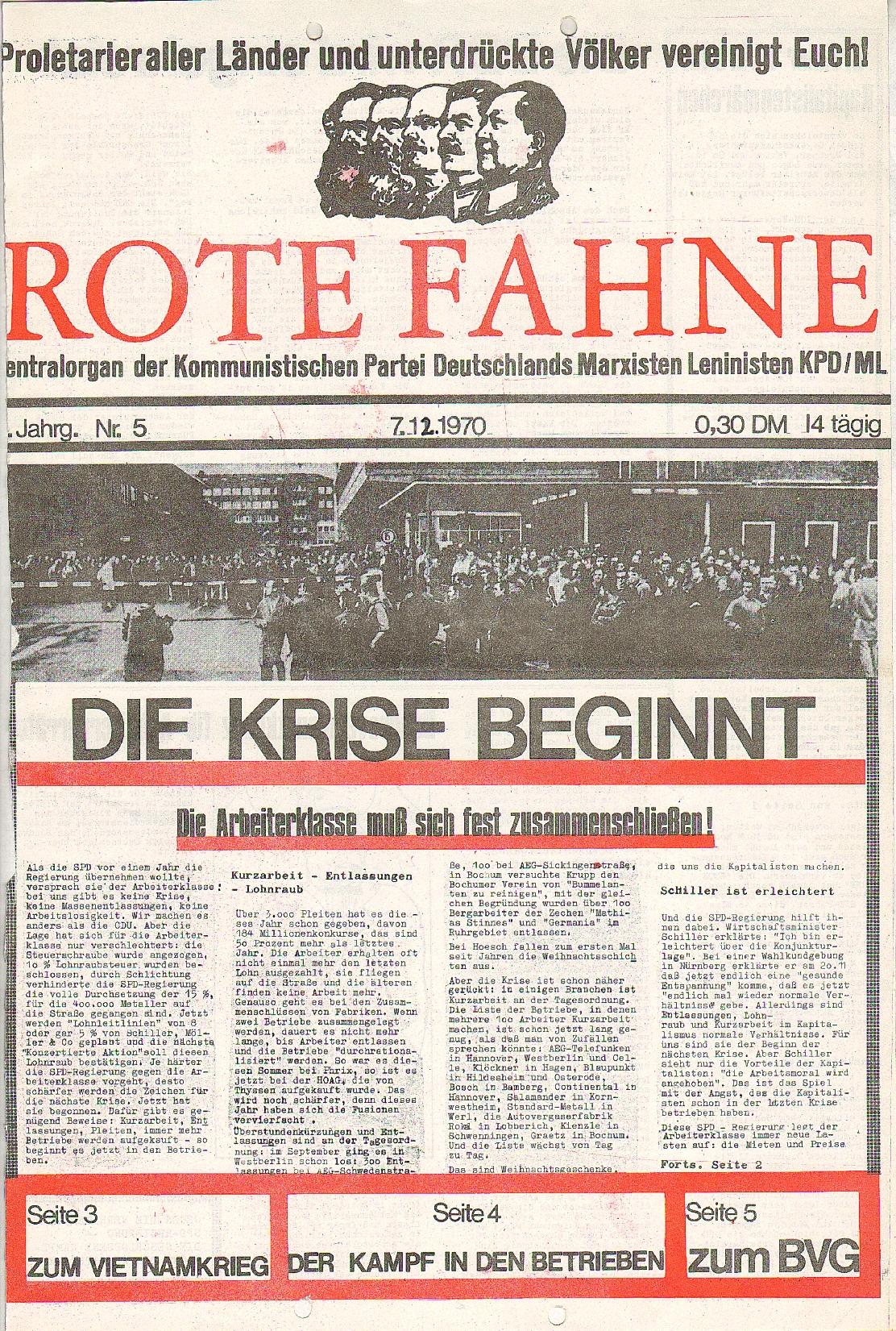 Rote Fahne, 1. Jg., 7.12.1970, Nr. 5, Seite 1