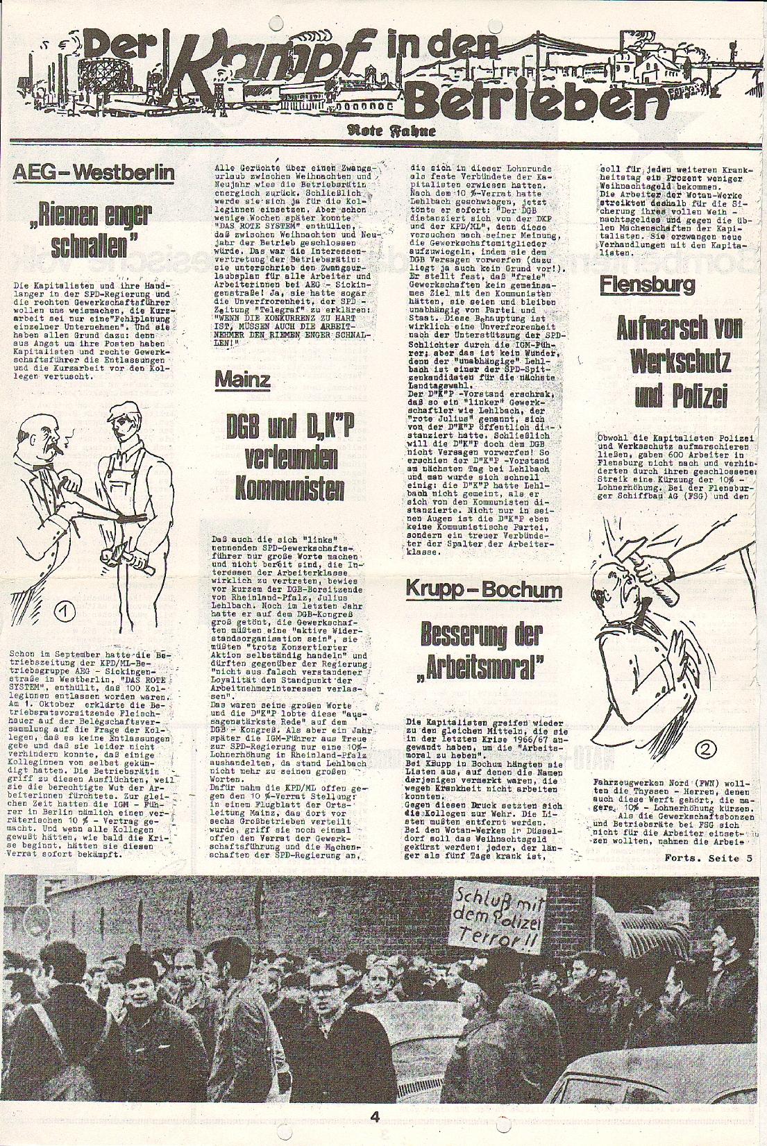 Rote Fahne, 1. Jg., 7.12.1970, Nr. 5, Seite 4