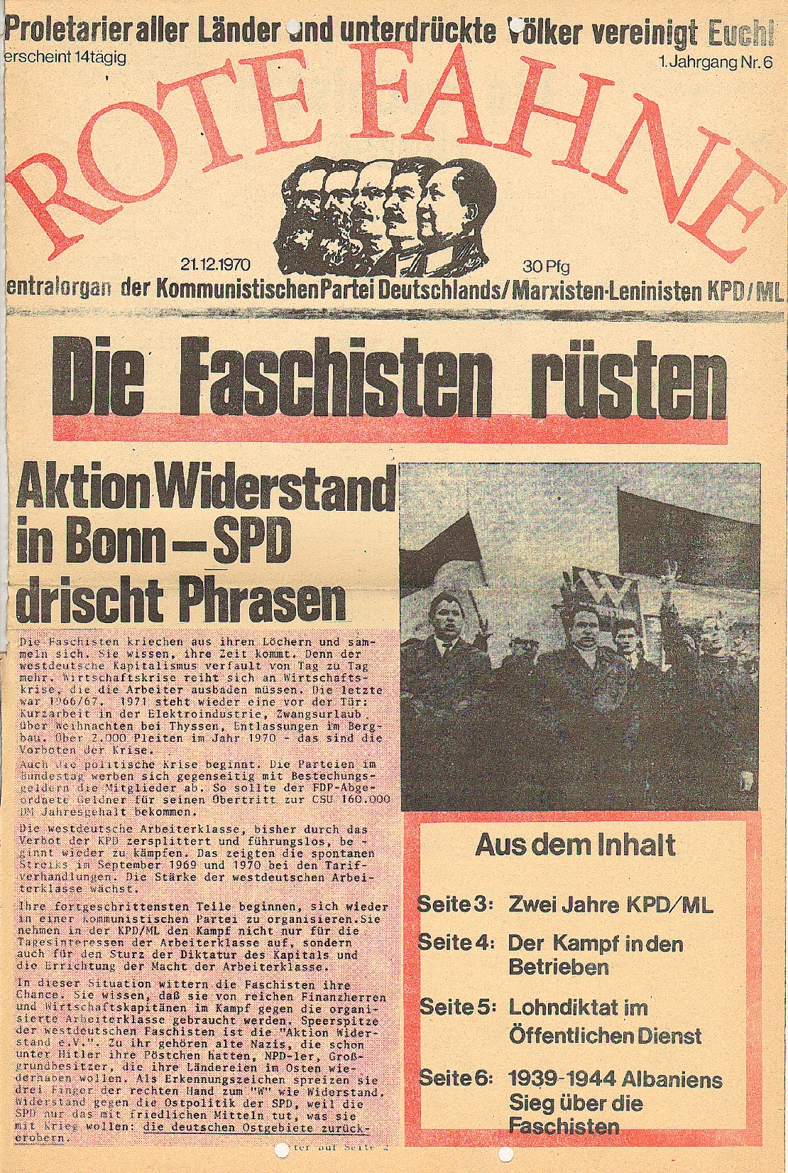 Rote Fahne, 1. Jg., 21.12.1970, Nr. 6, Seite 1