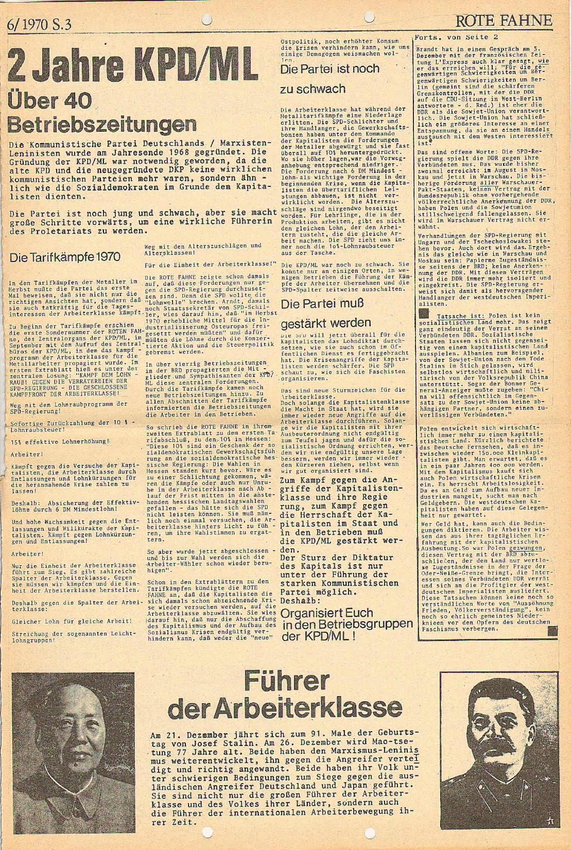 Rote Fahne, 1. Jg., 21.12.1970, Nr. 6, Seite 3