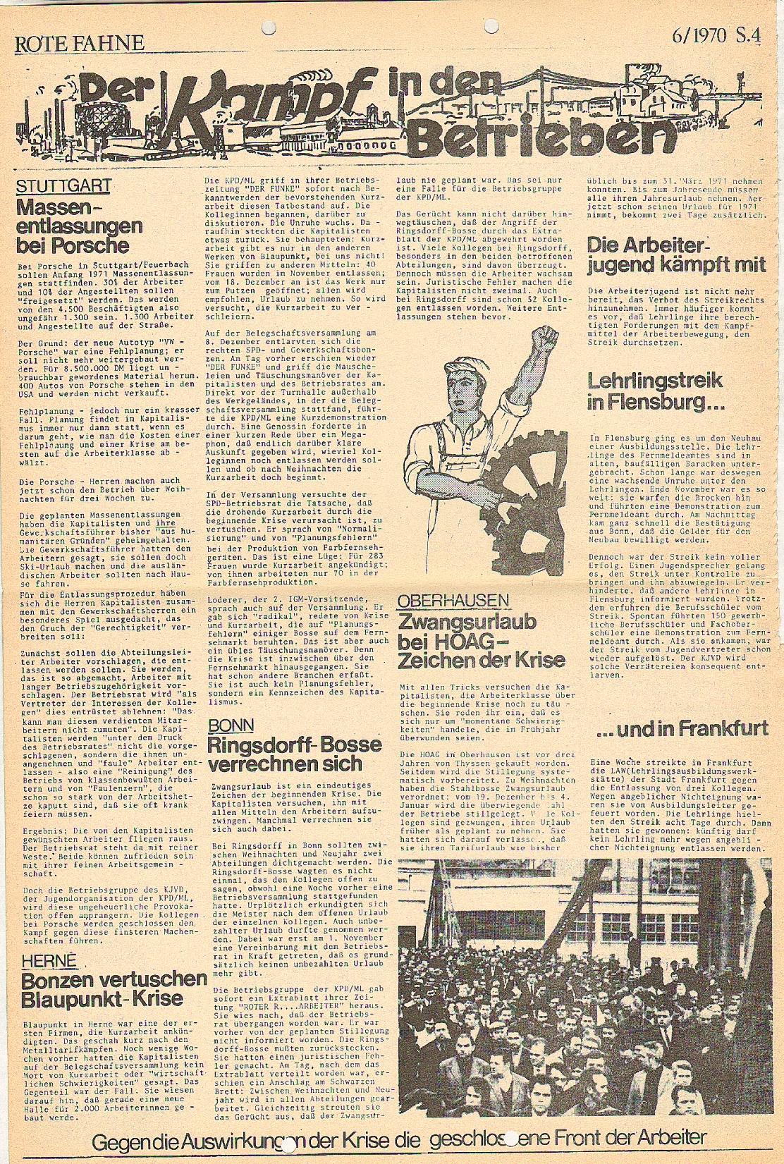 Rote Fahne, 1. Jg., 21.12.1970, Nr. 6, Seite 4