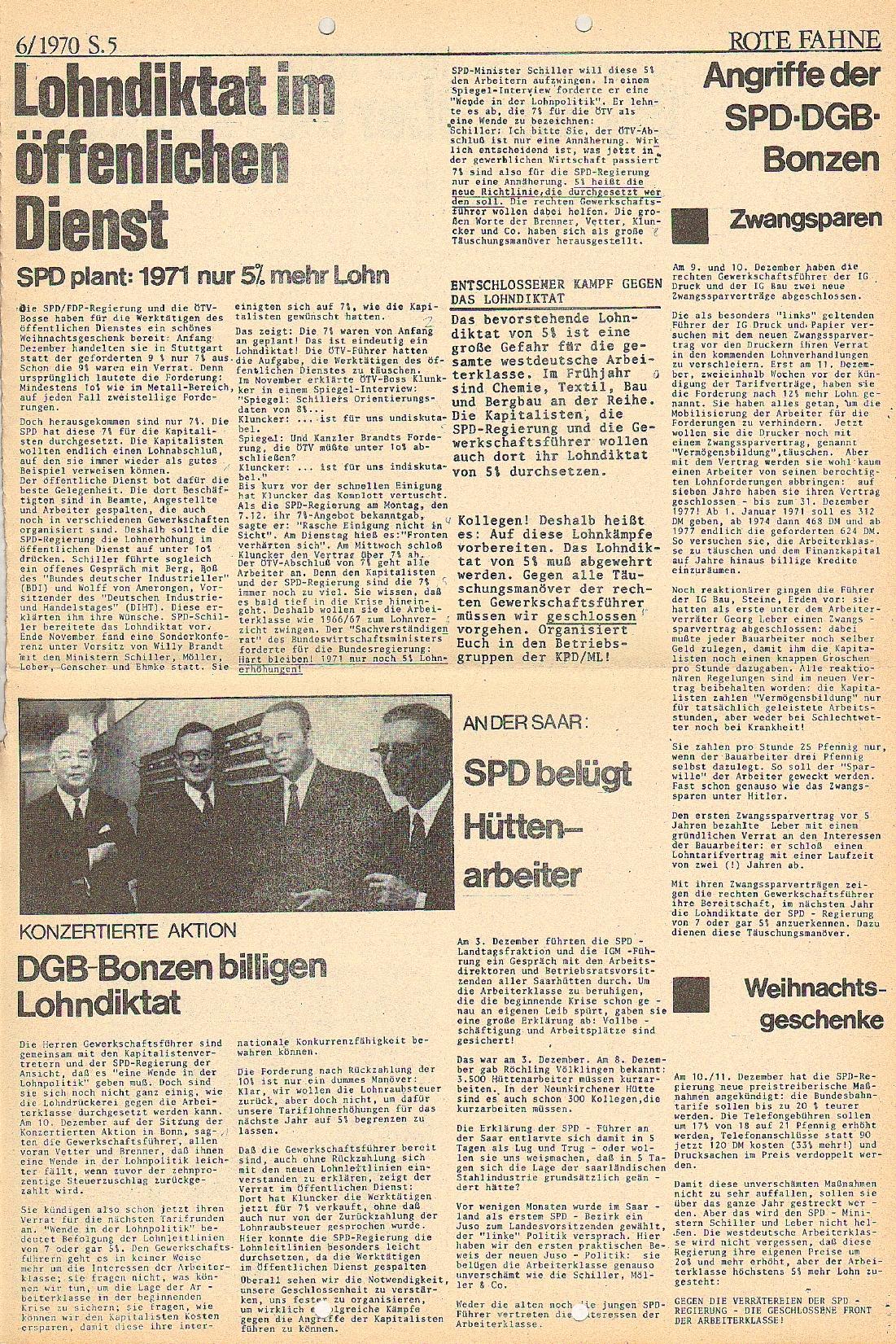 Rote Fahne, 1. Jg., 21.12.1970, Nr. 6, Seite 5