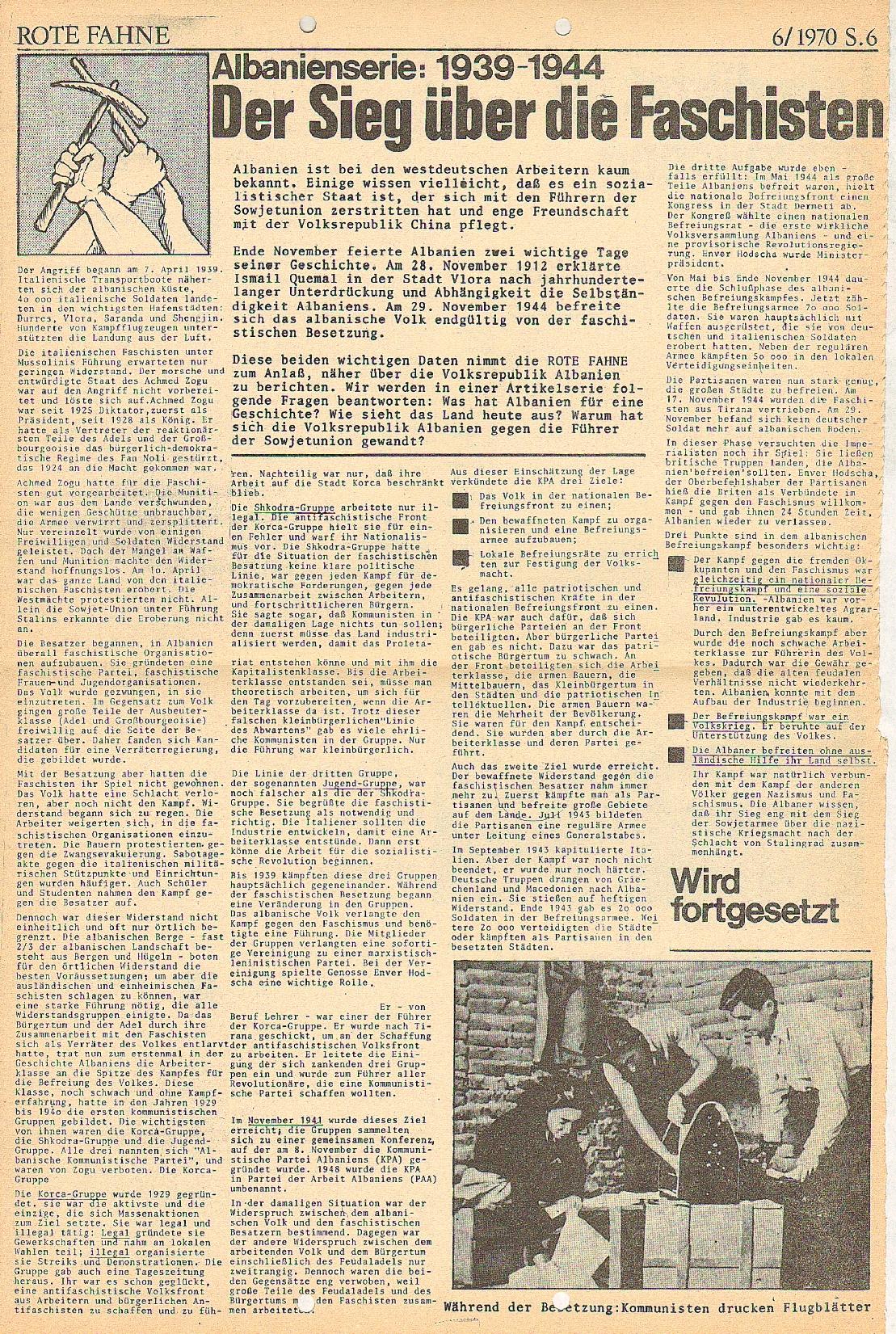 Rote Fahne, 1. Jg., 21.12.1970, Nr. 6, Seite 6