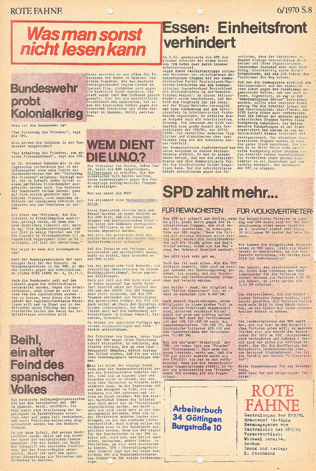 Rote Fahne, 1. Jg., 21.12.1970, Nr. 6, Seite 8