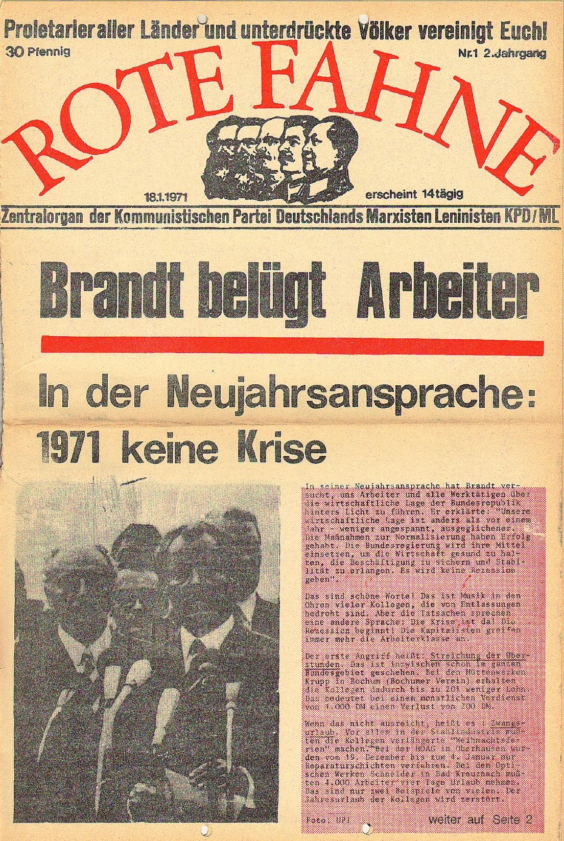 Rote Fahne, 2. Jg., 18.1.1971, Nr. 1, Seite 1