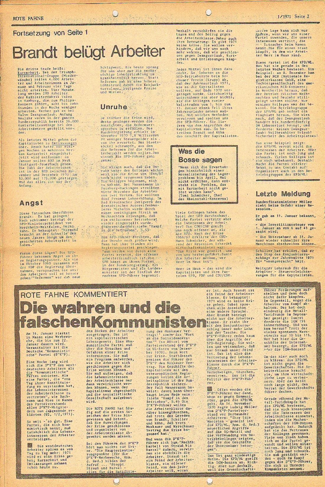 Rote Fahne, 2. Jg., 18.1.1971, Nr. 1, Seite 2