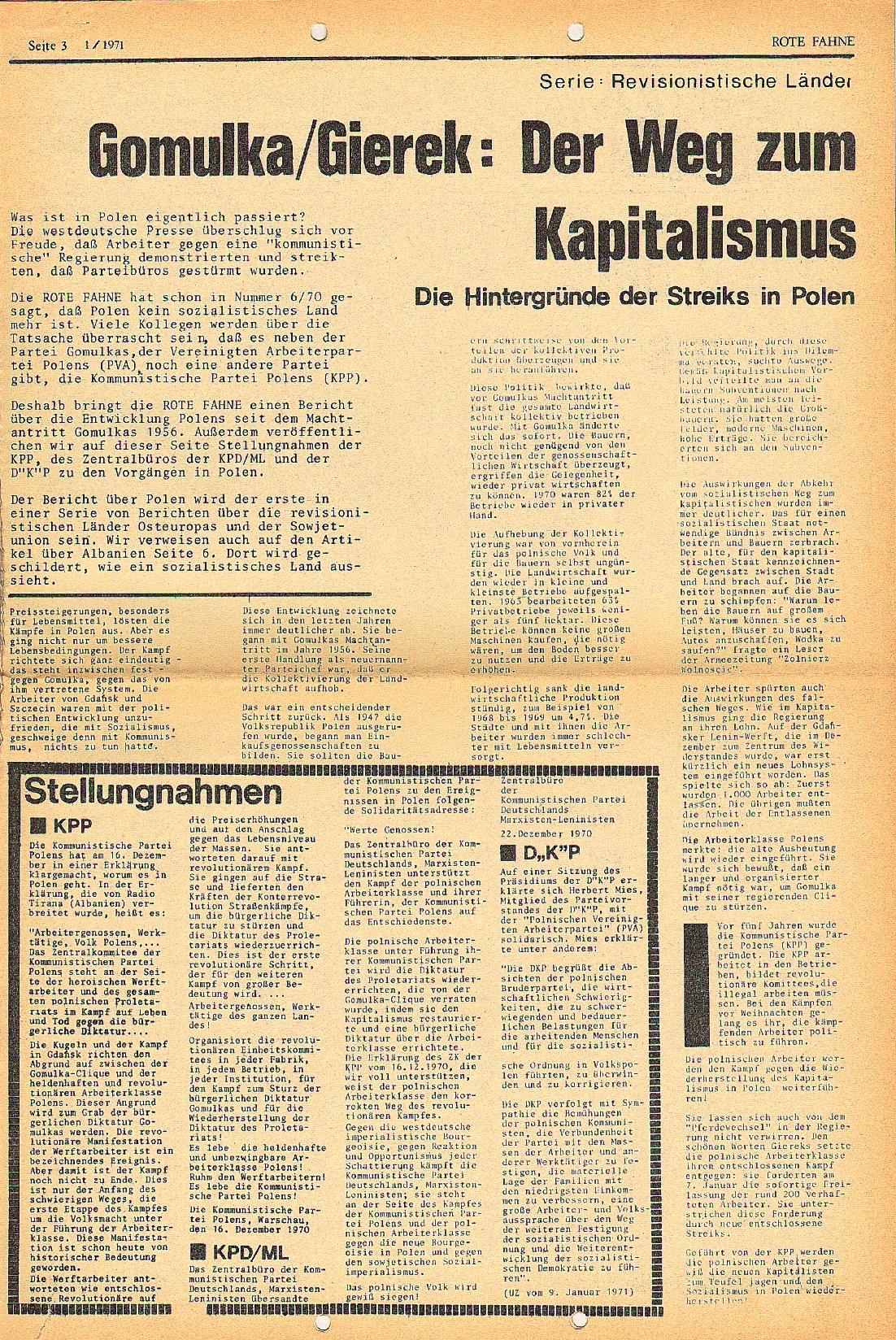 Rote Fahne, 2. Jg., 18.1.1971, Nr. 1, Seite 3