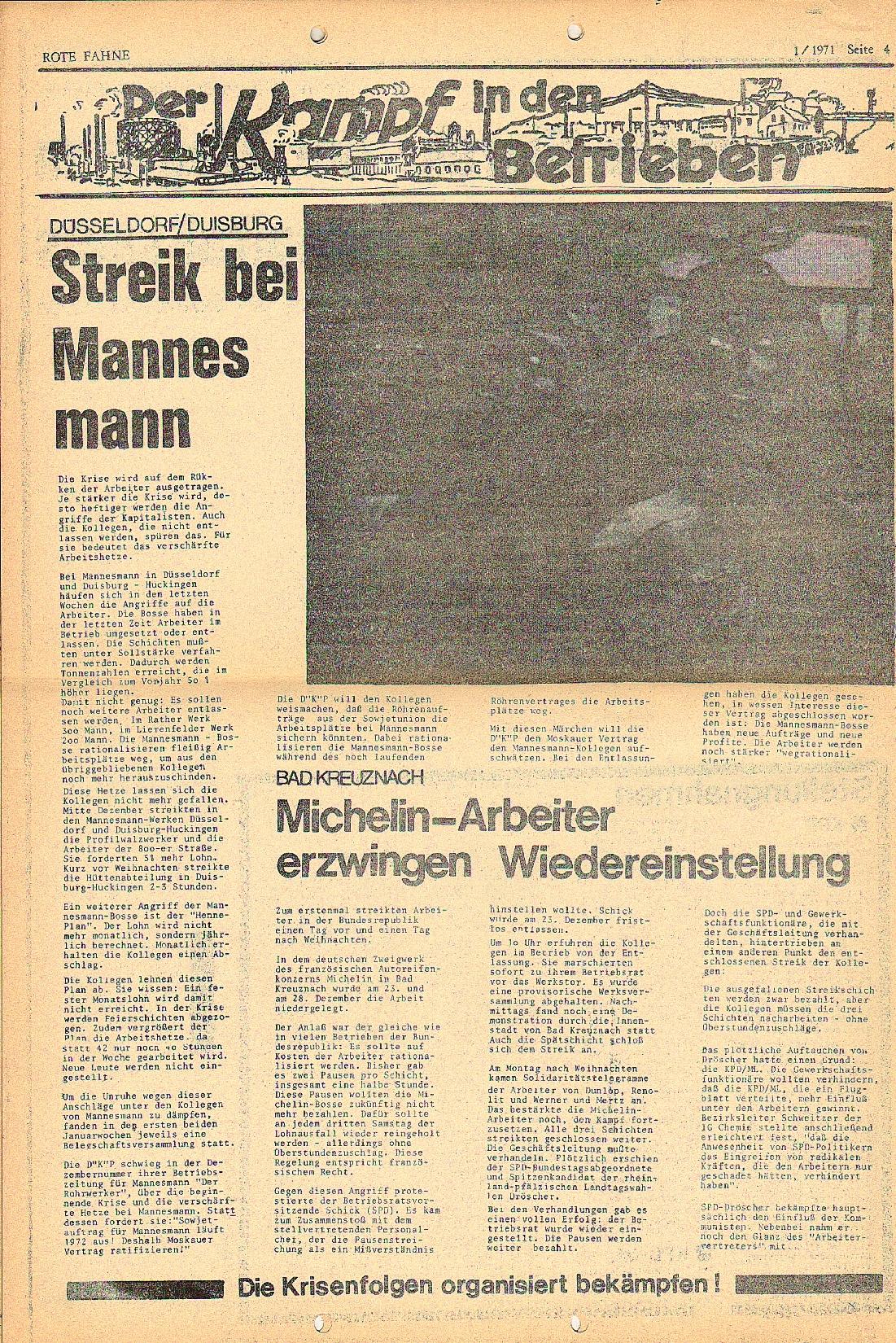 Rote Fahne, 2. Jg., 18.1.1971, Nr. 1, Seite 4