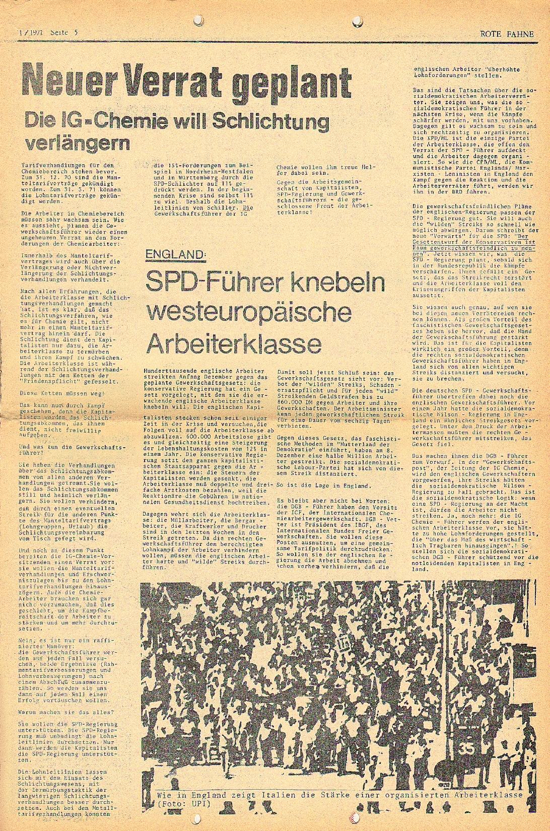 Rote Fahne, 2. Jg., 18.1.1971, Nr. 1, Seite 5