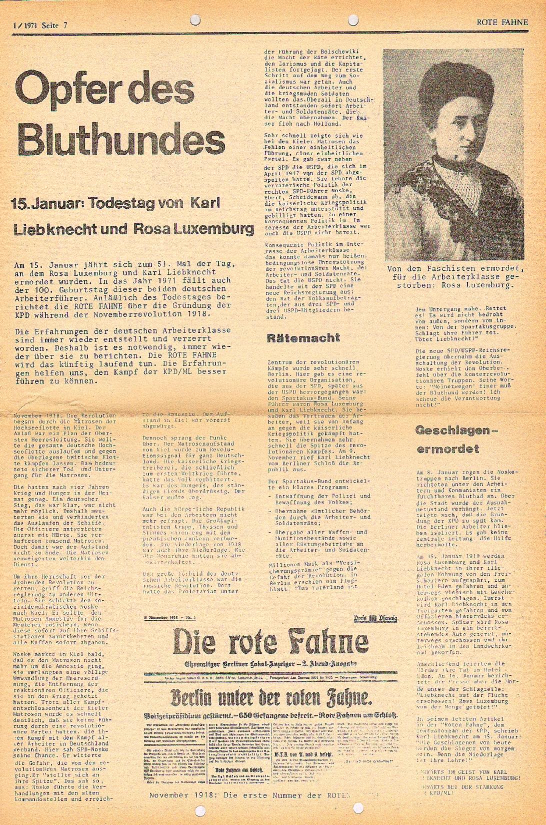Rote Fahne, 2. Jg., 18.1.1971, Nr. 1, Seite 7