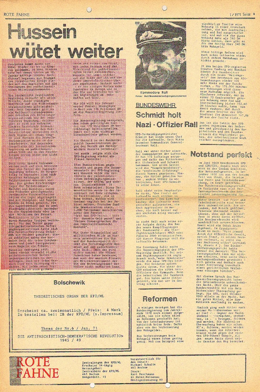 Rote Fahne, 2. Jg., 18.1.1971, Nr. 1, Seite 8