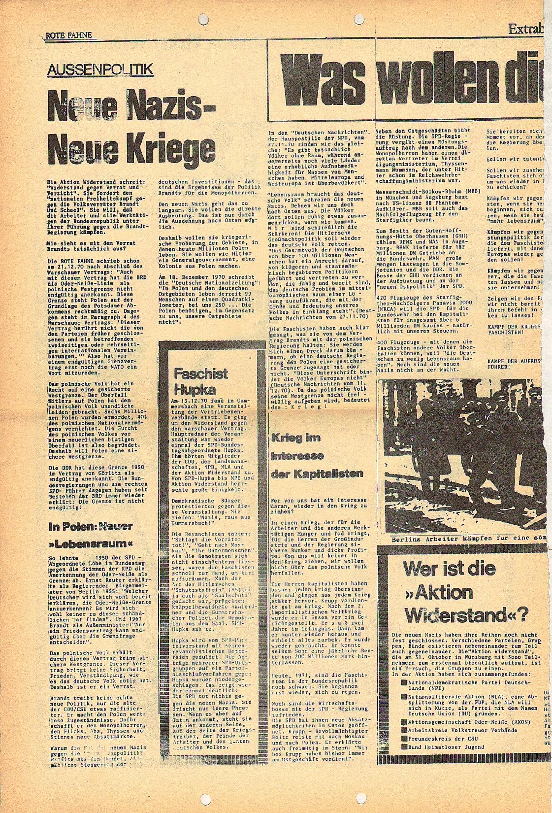 Rote Fahne, 2. Jg., Januar 1971, Extrablatt, Seite 2