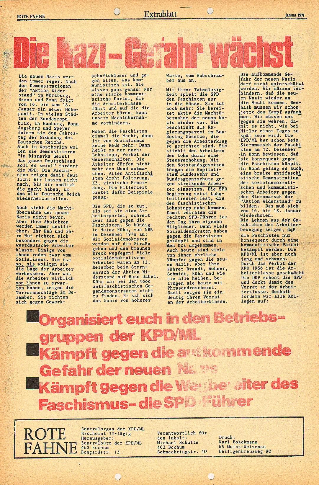Rote Fahne, 2. Jg., Januar 1971, Extrablatt, Seite 4