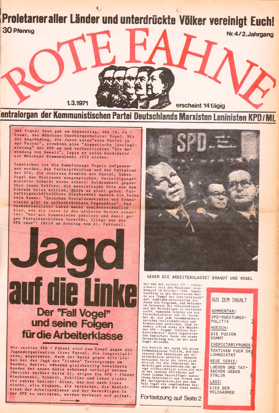 Rote Fahne, 2. Jg., 1.3.1971, Nr. 4, Seite 1